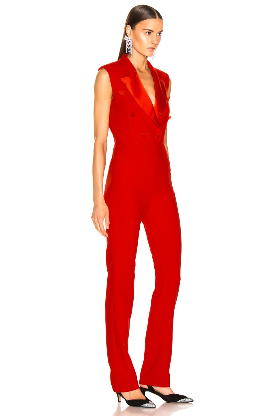 Image 2 of MSGM Enverse Satin Jumpsuit in Red