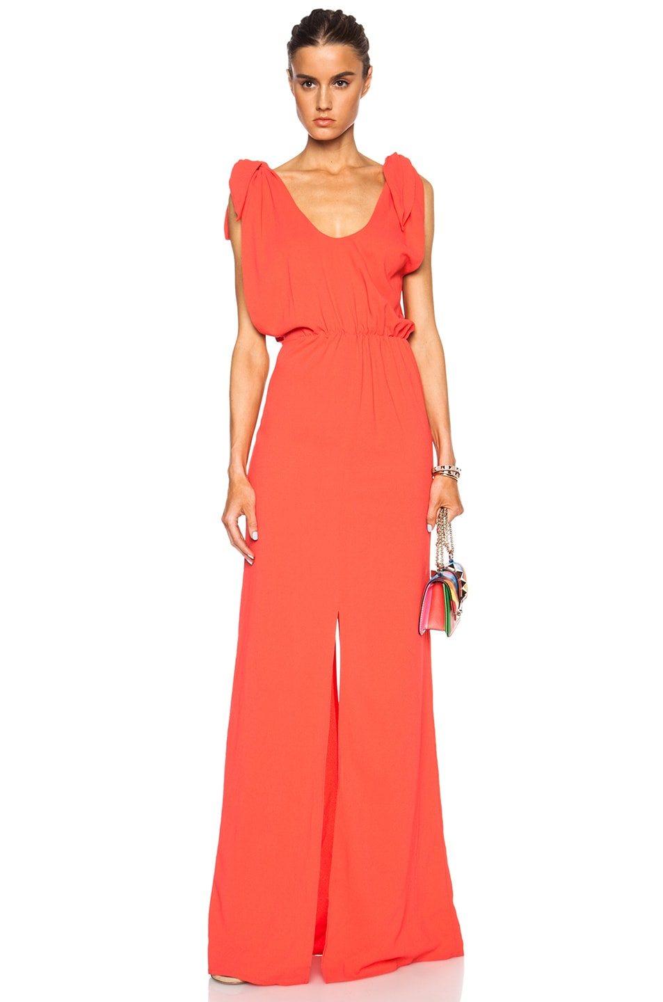 Image 1 of MSGM Long Viscose-Blend Silk Dress in Coral