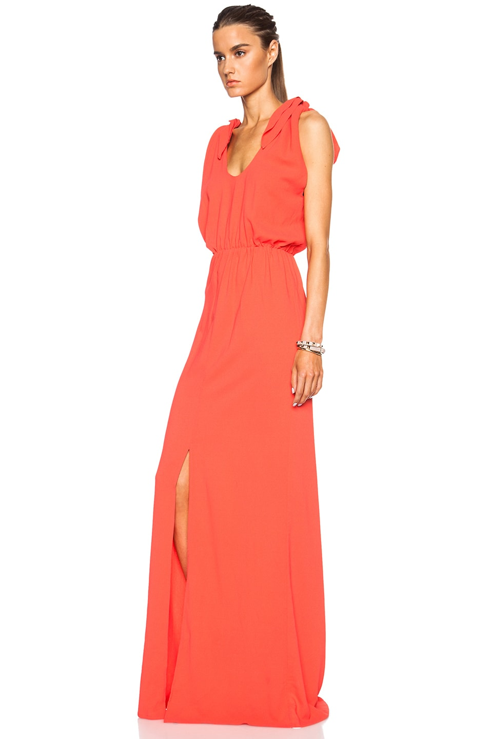 Image 2 of MSGM Long Viscose-Blend Silk Dress in Coral
