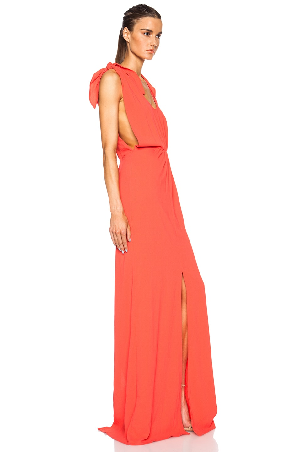 Image 3 of MSGM Long Viscose-Blend Silk Dress in Coral