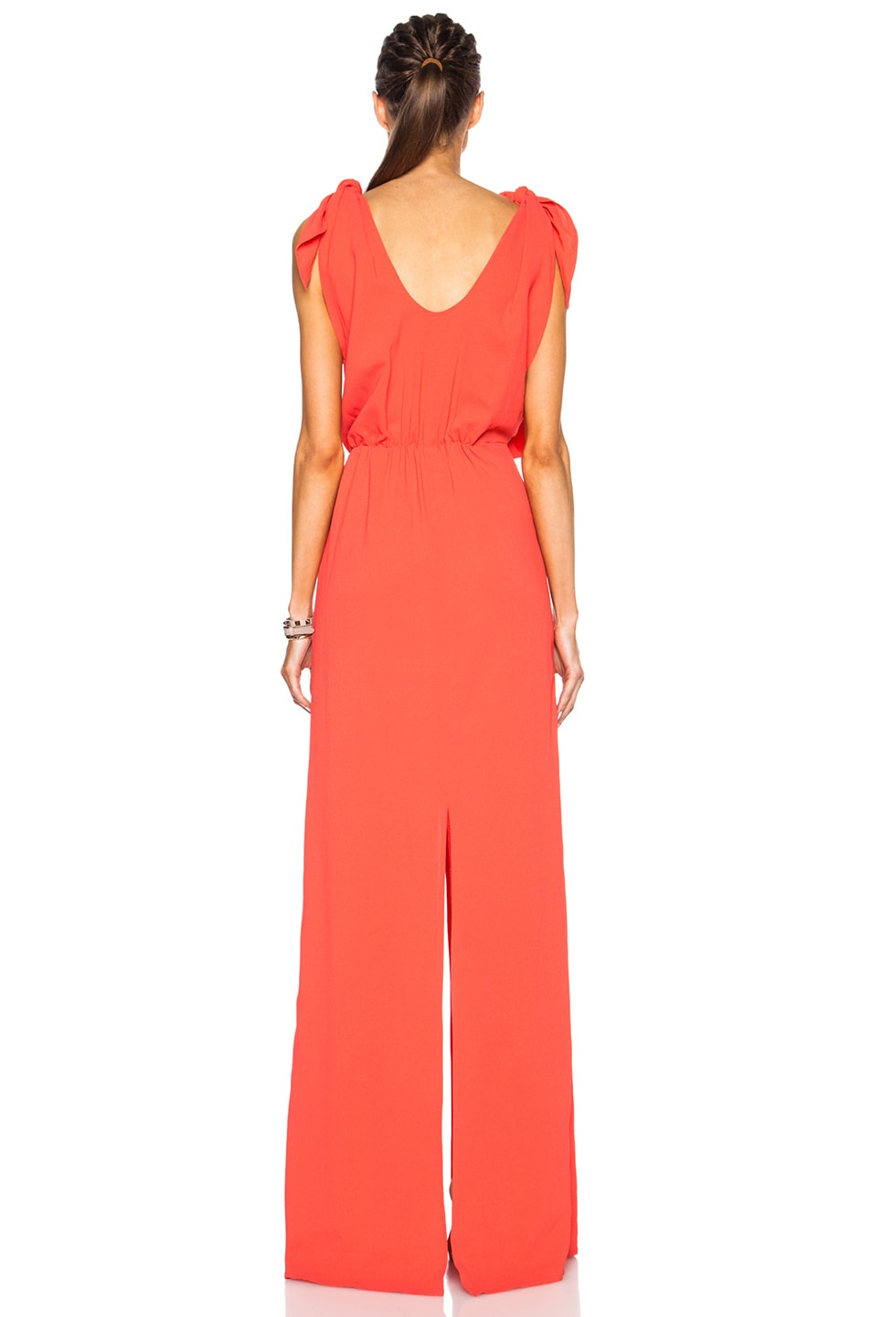 Image 4 of MSGM Long Viscose-Blend Silk Dress in Coral