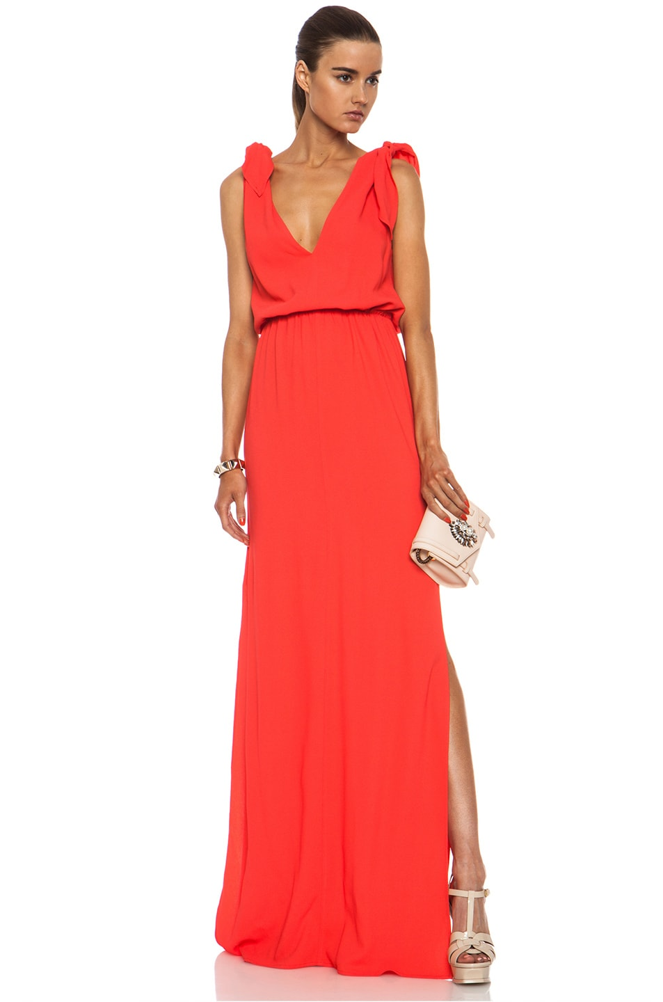 Image 5 of MSGM Long Viscose-Blend Silk Dress in Coral