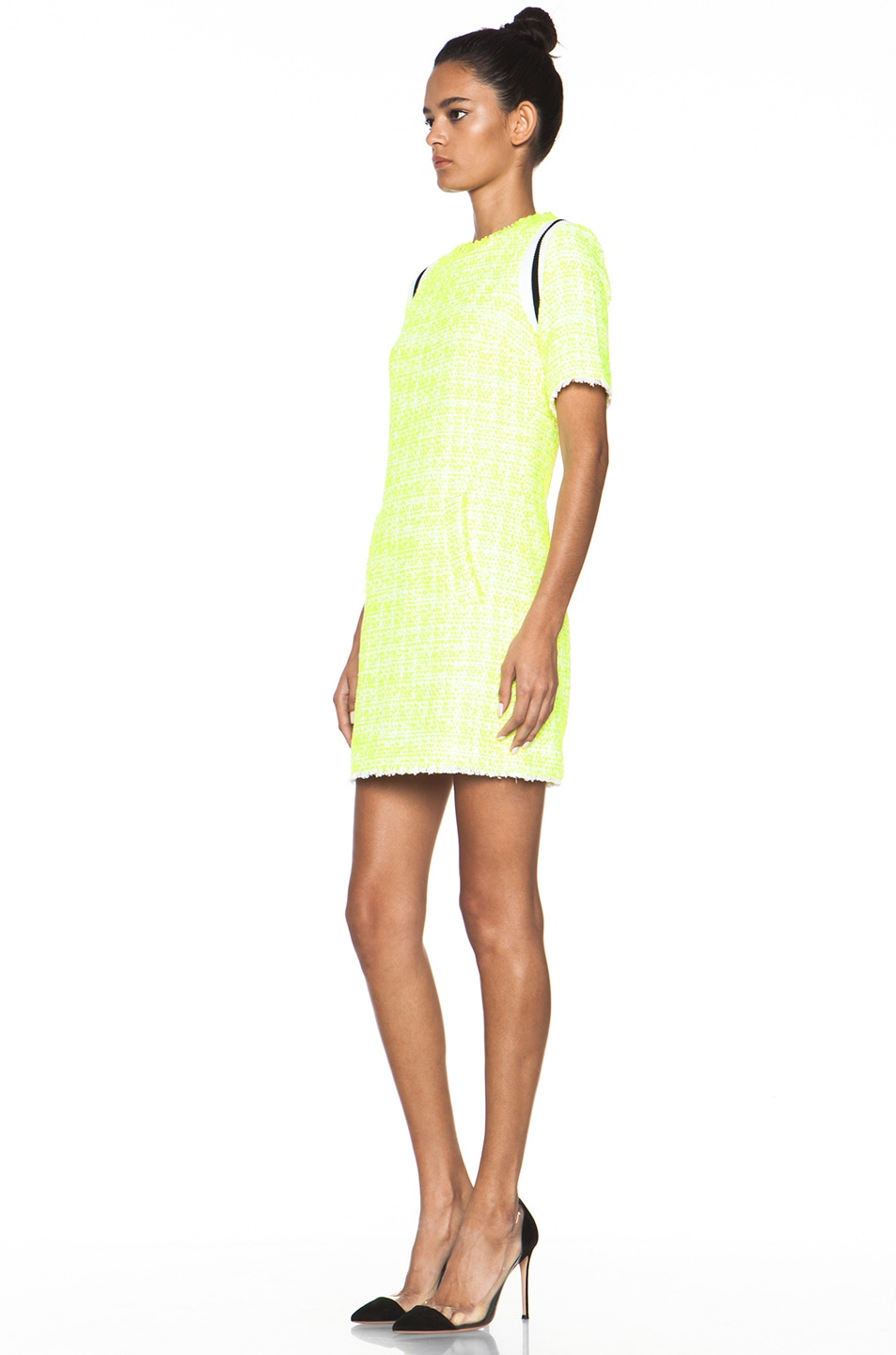 Image 2 of MSGM Tweed Dress in Neon Yellow