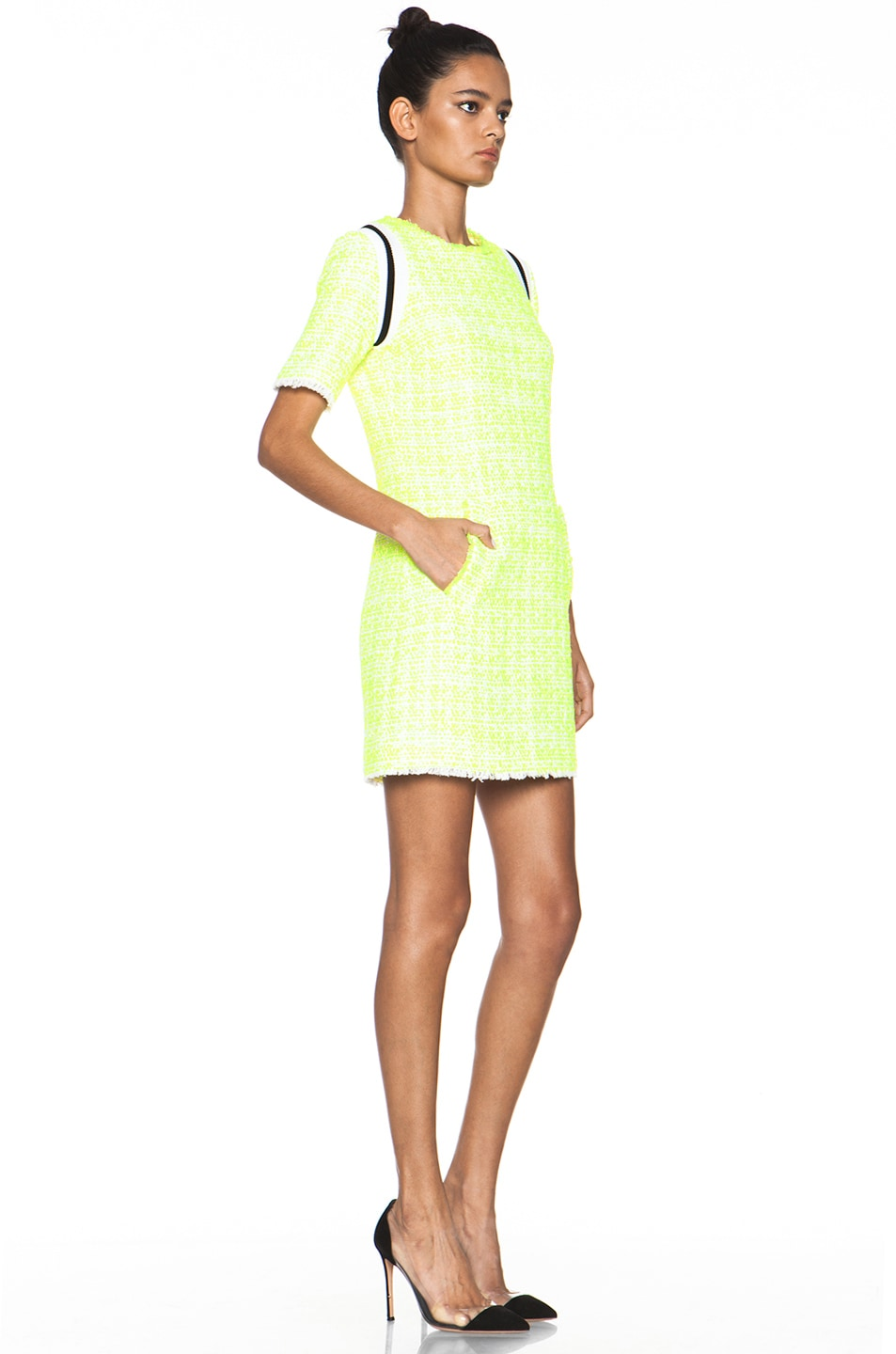 Image 3 of MSGM Tweed Dress in Neon Yellow