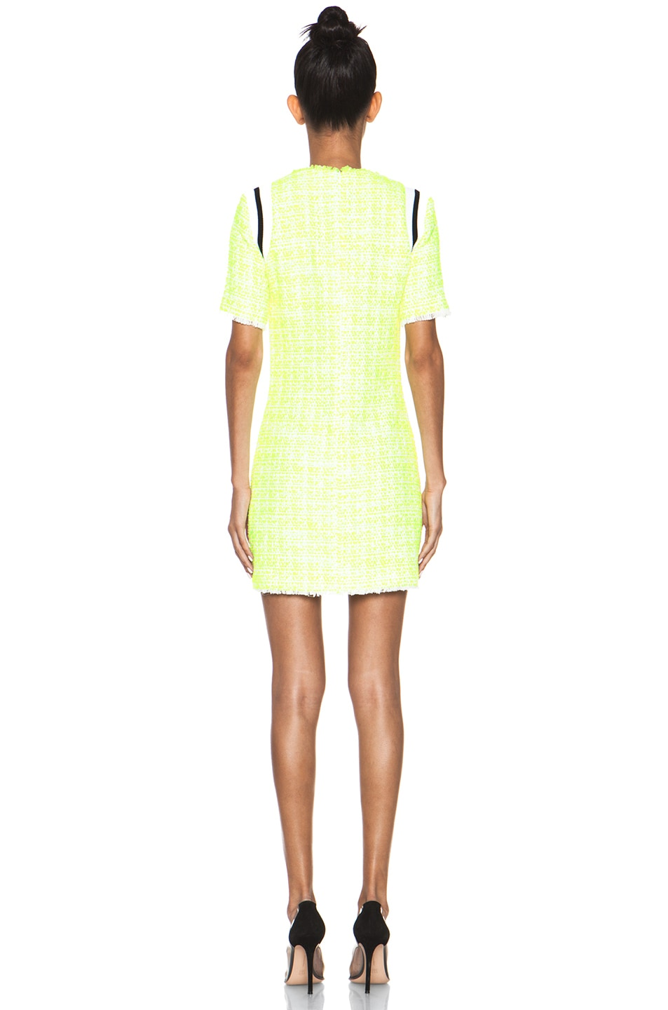 Image 4 of MSGM Tweed Dress in Neon Yellow
