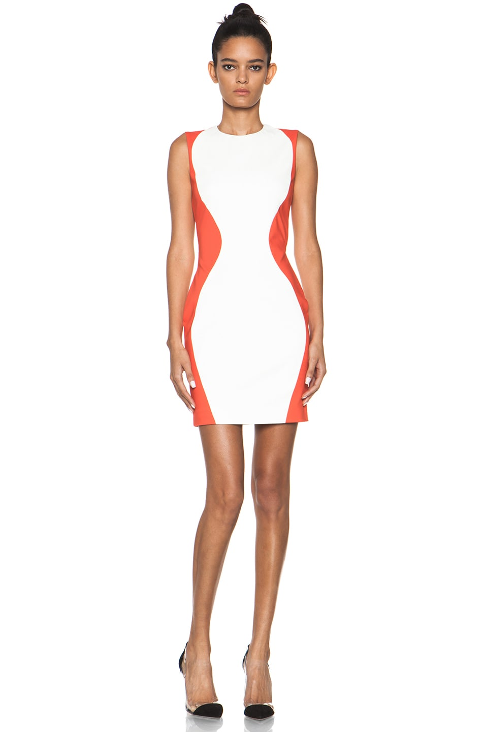 Image 1 of MSGM Open Back Dress in White & Orange