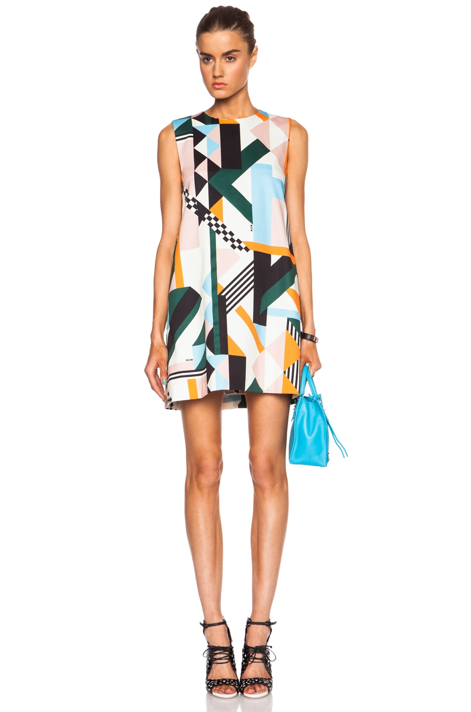 Image 1 of MSGM Geometric Print Cotton-Blend Tank Dress in Multi
