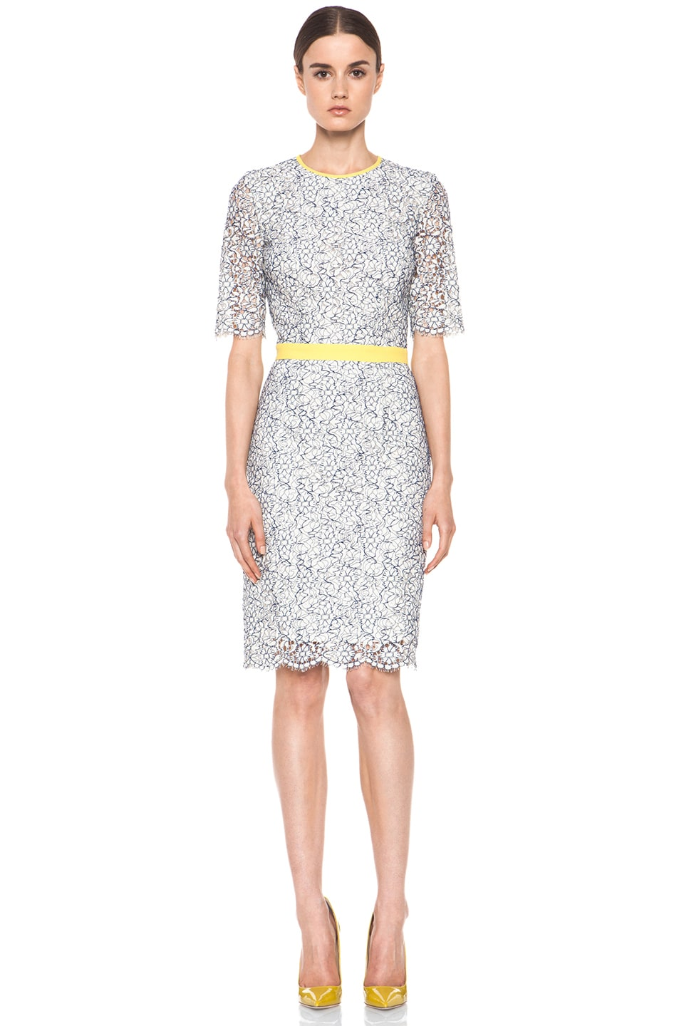 Image 1 of MSGM Lace Cut Out Dress in White & Blue & Yellow