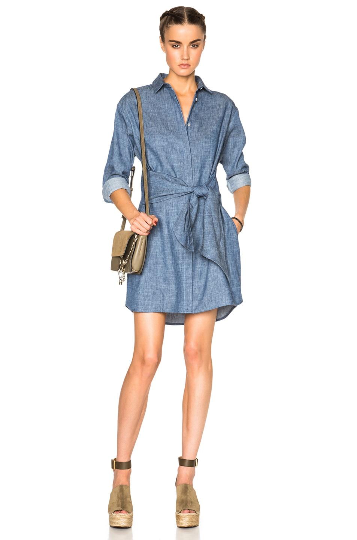 Msgm Chambray Shirt Dress In Blue Fwrd