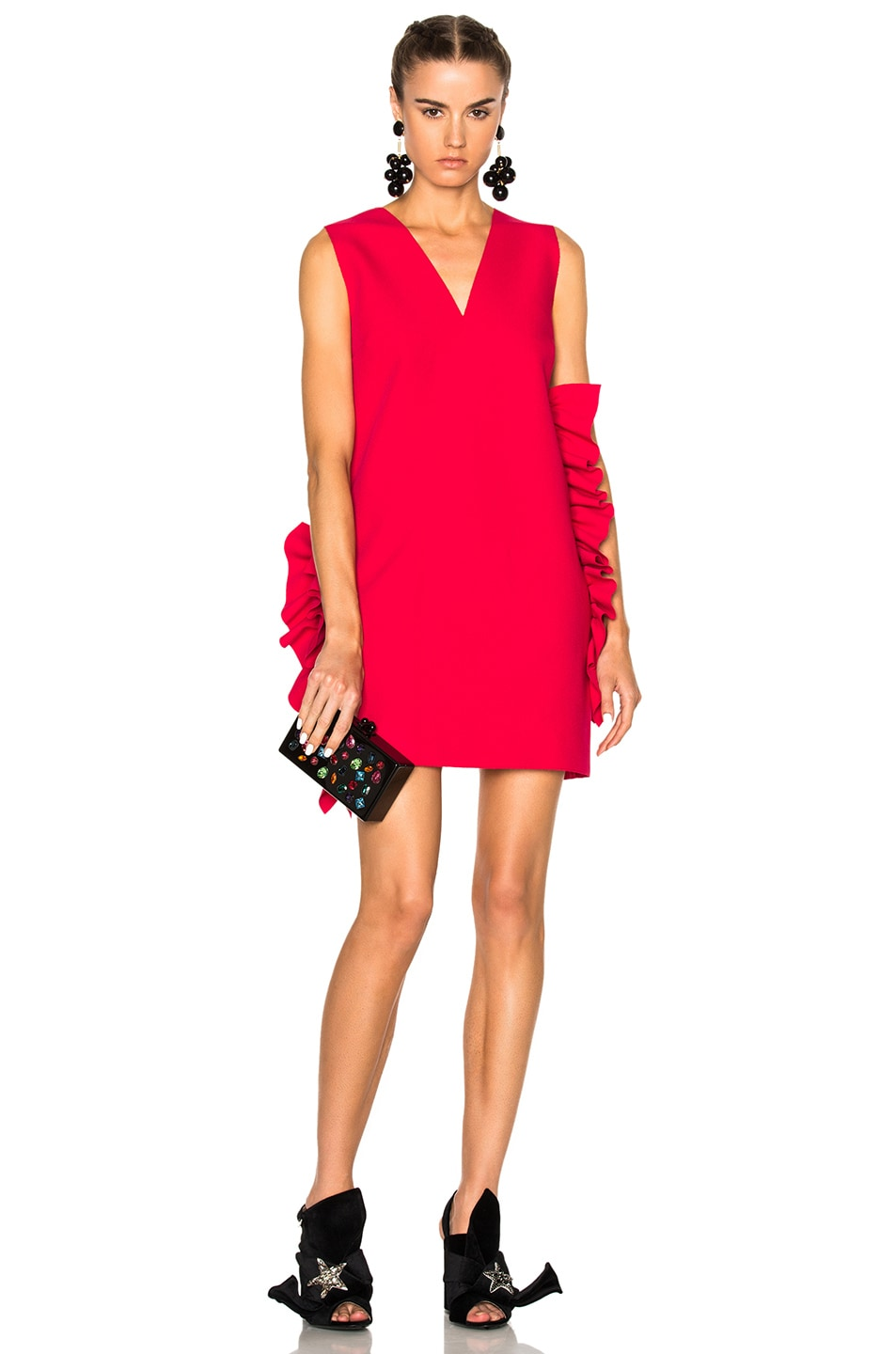 504e1ede0a3f Image 1 of MSGM V-Neck Ruffle Dress in Pink