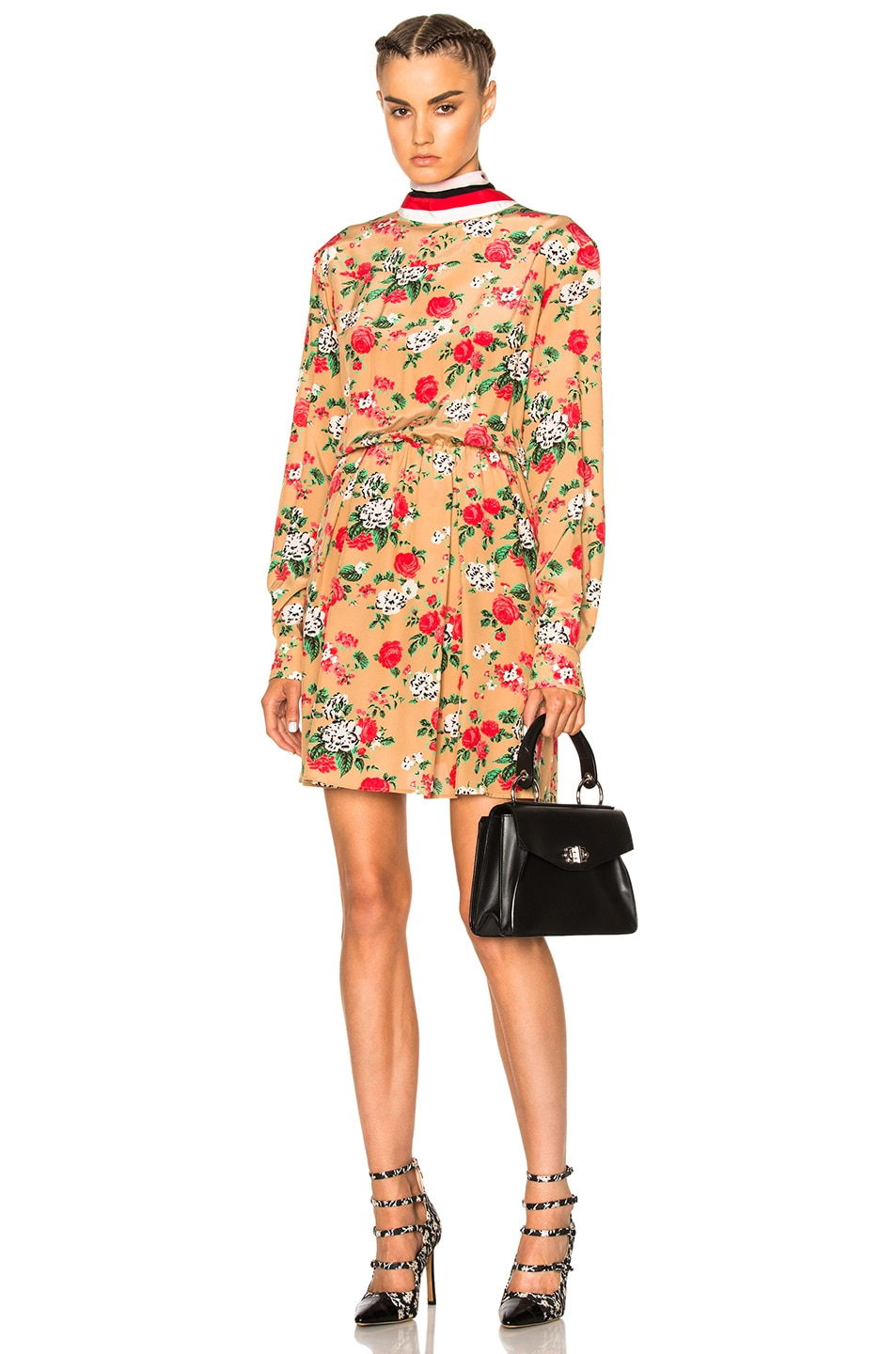 Image 1 of MSGM Printed Mini Dress in Beige Floral