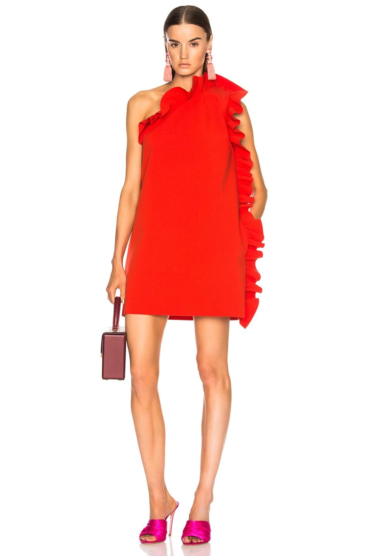 ruffled one-shoulder dress - Red Msgm dNzSCvA