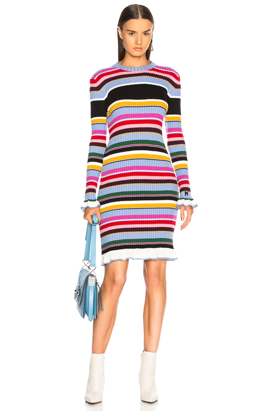 Image 1 of MSGM Striped Sweater Dress in Multicolor
