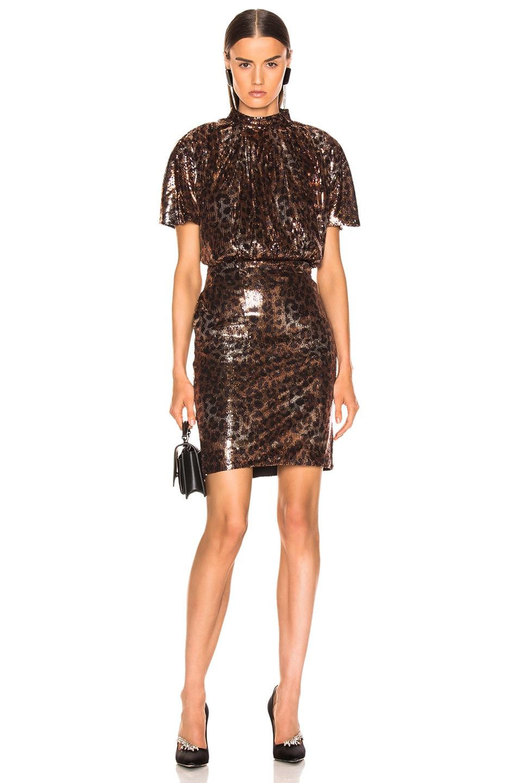 Image 2 of MSGM Animalier Dress in Gold & Black Leopard Print