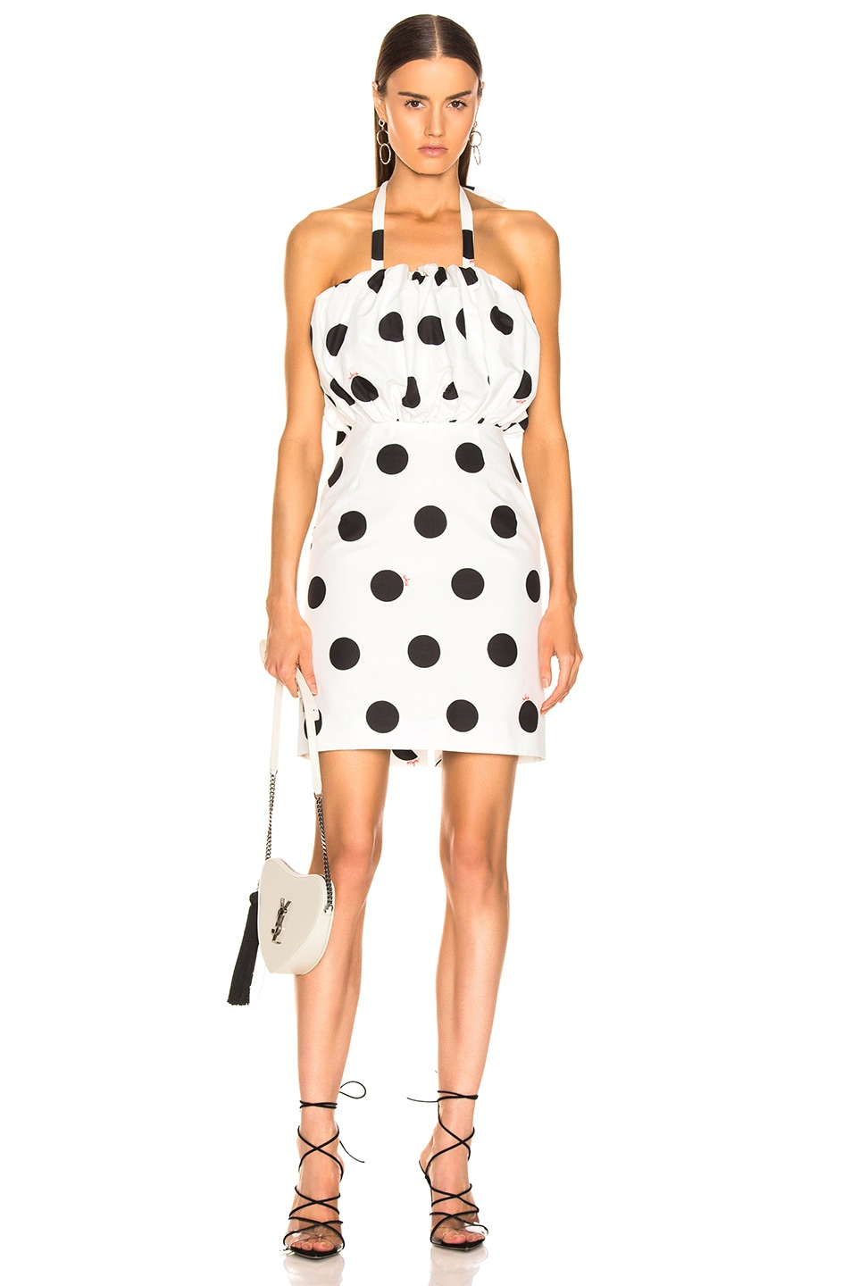 Image 1 of MSGM Macro Polka Dot Printed Dress in Black & White
