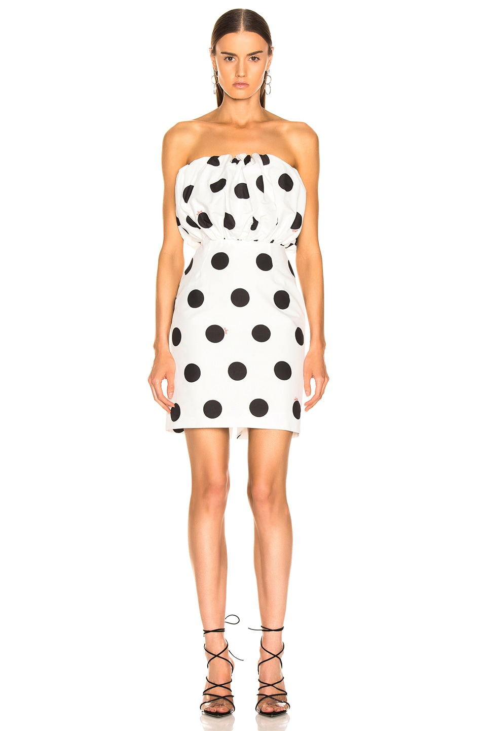 Image 2 of MSGM Macro Polka Dot Printed Dress in Black & White