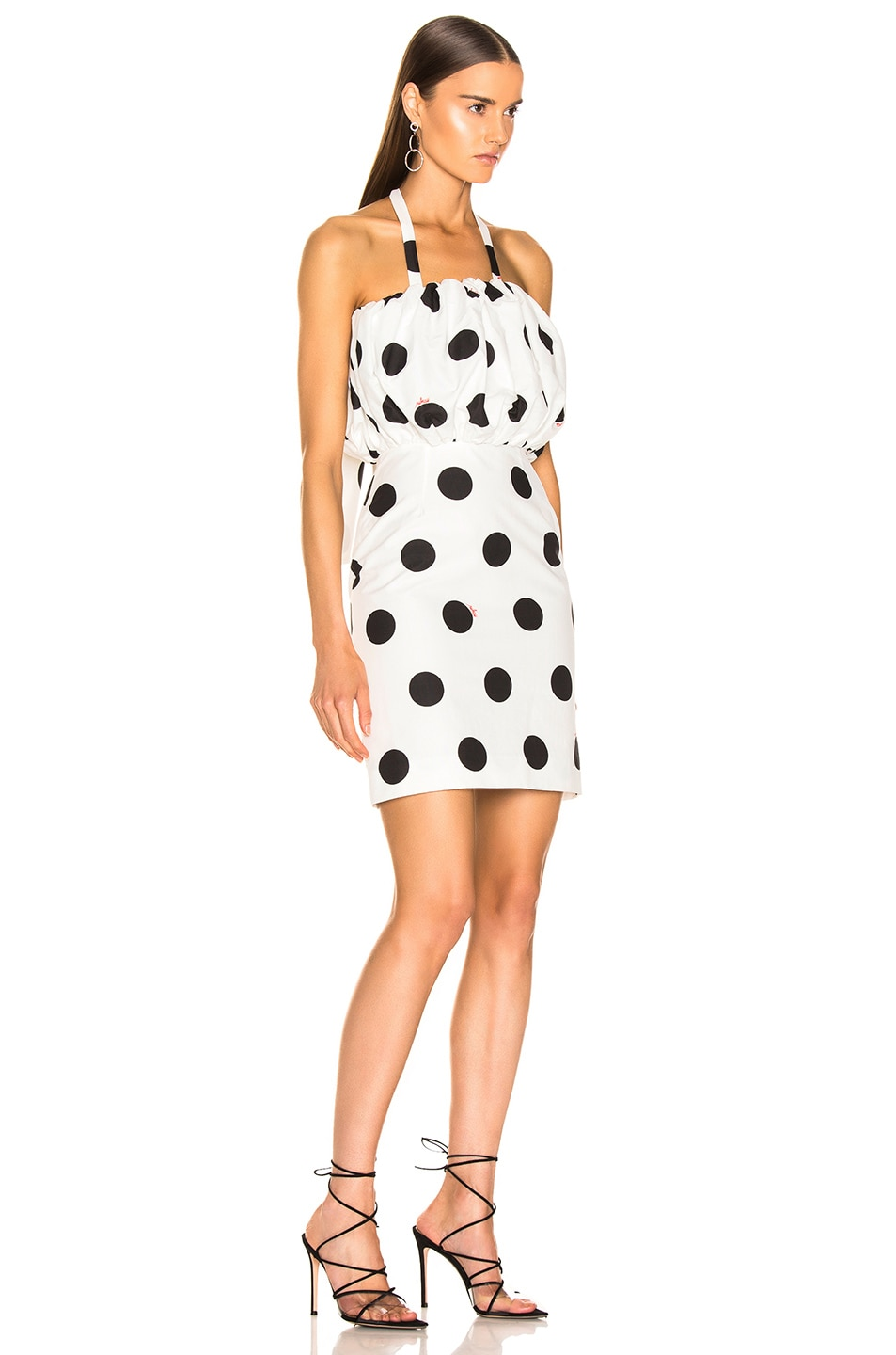 Image 3 of MSGM Macro Polka Dot Printed Dress in Black & White