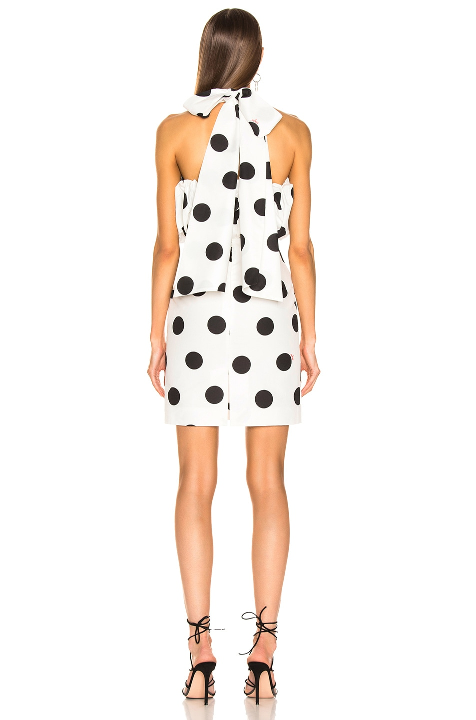 Image 4 of MSGM Macro Polka Dot Printed Dress in Black & White