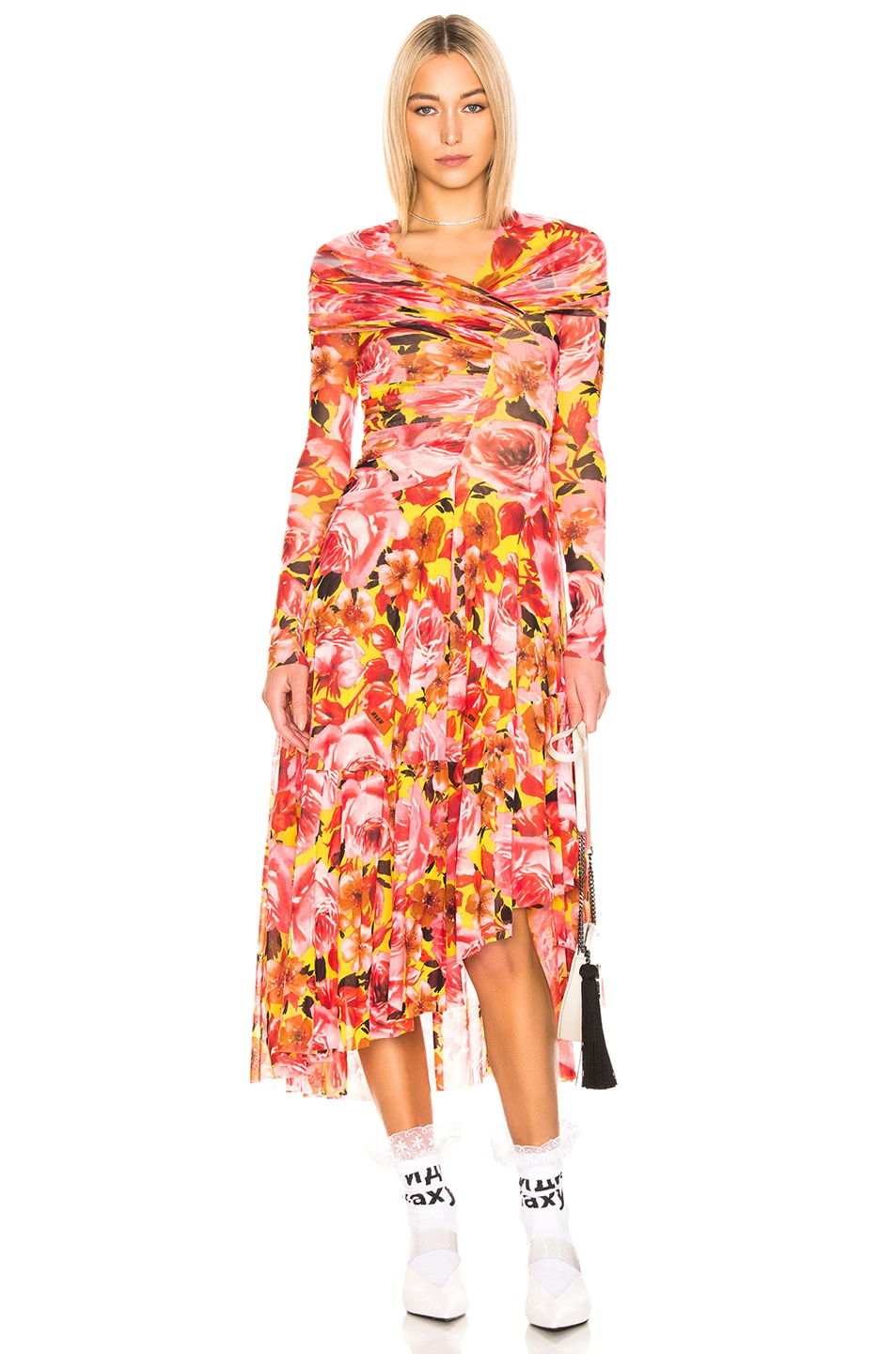 Image 1 of MSGM Off the Shoulder Dress in Yellow