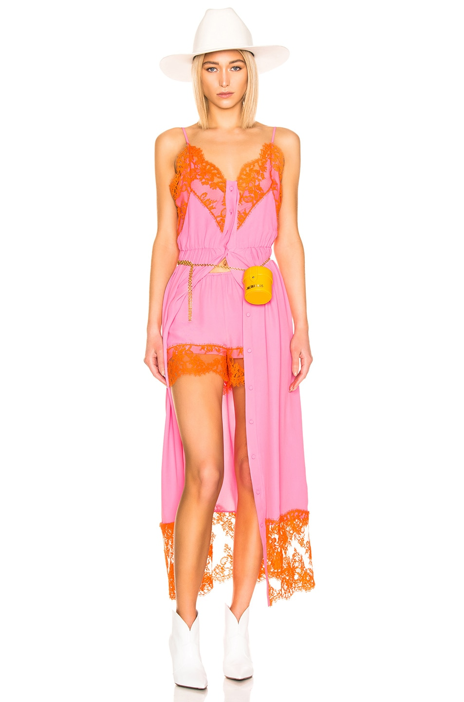 Image 1 of MSGM Lace Maxi Dress & Short Set in Pink