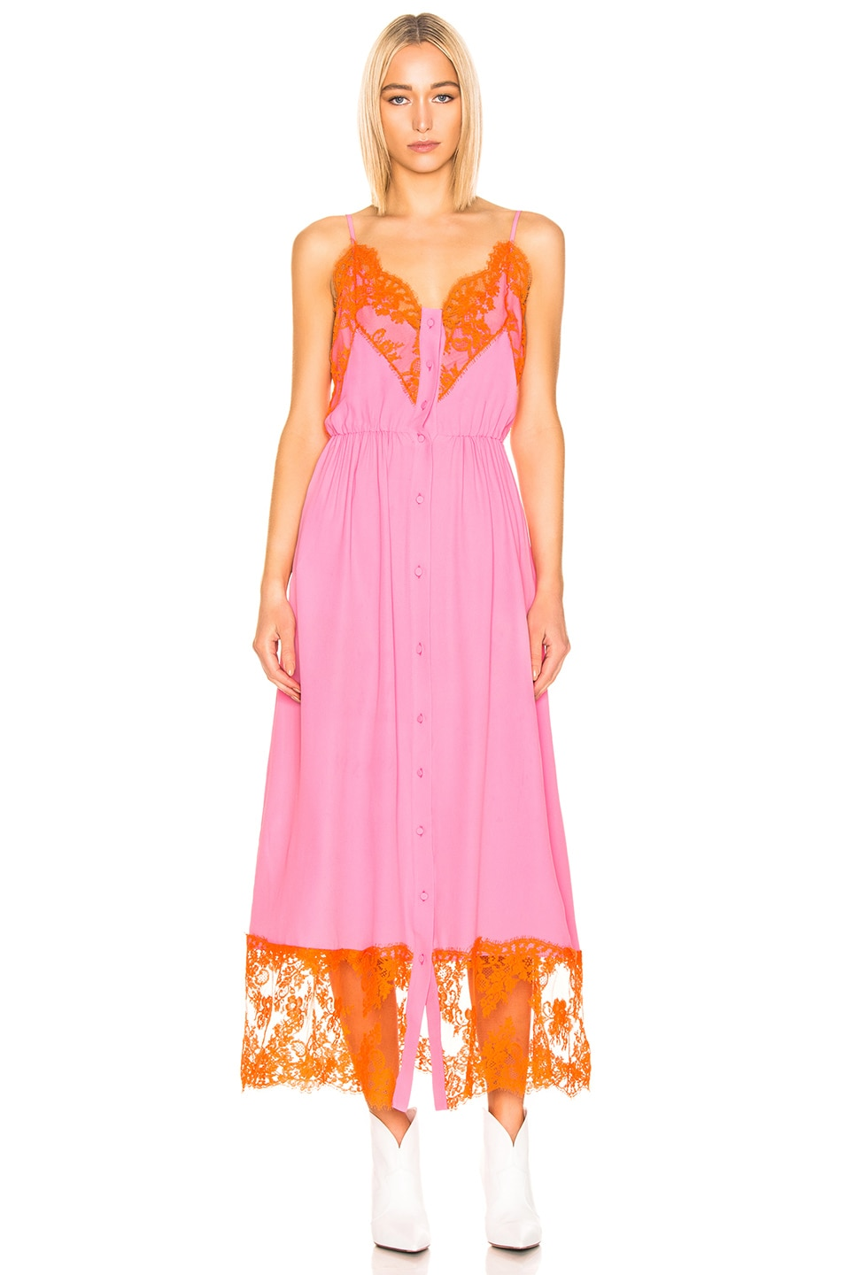 Image 2 of MSGM Lace Maxi Dress & Short Set in Pink