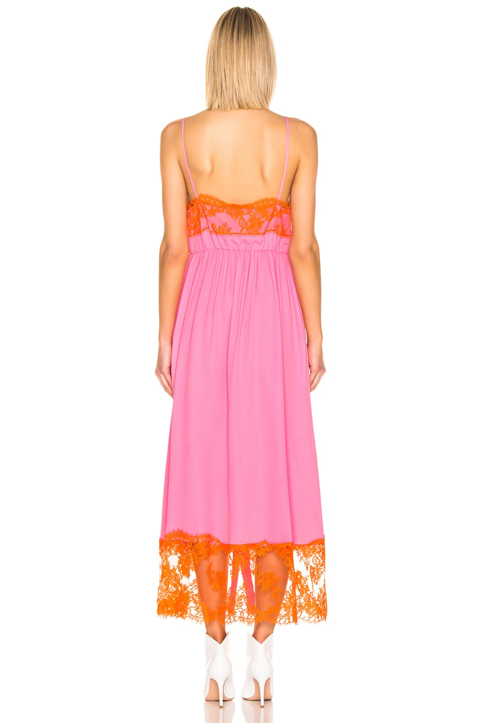 Image 4 of MSGM Lace Maxi Dress & Short Set in Pink