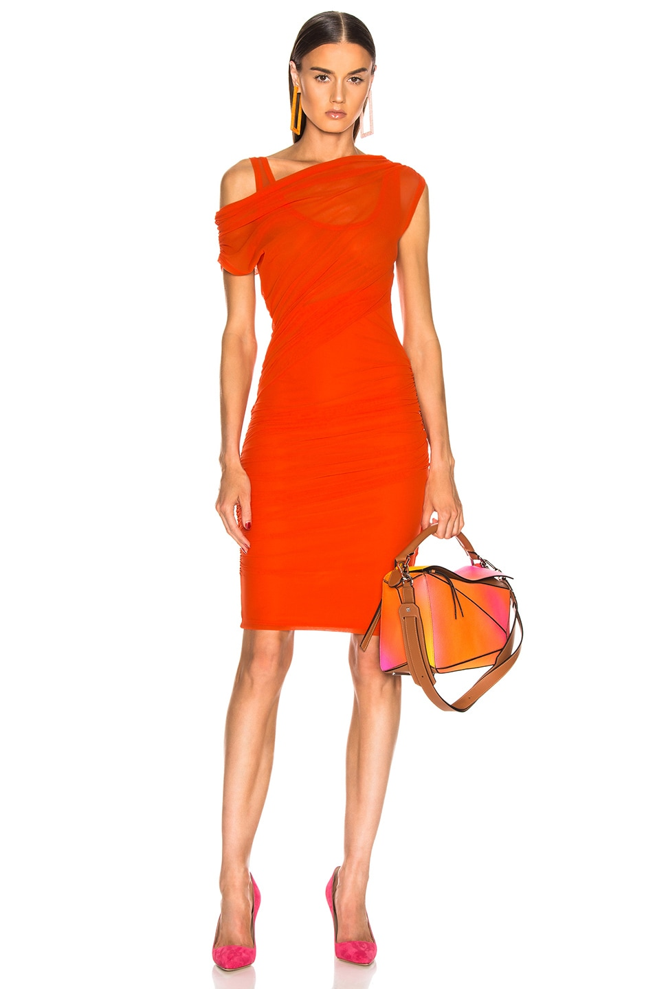 Image 1 of MSGM Ruched Midi Dress in Orange