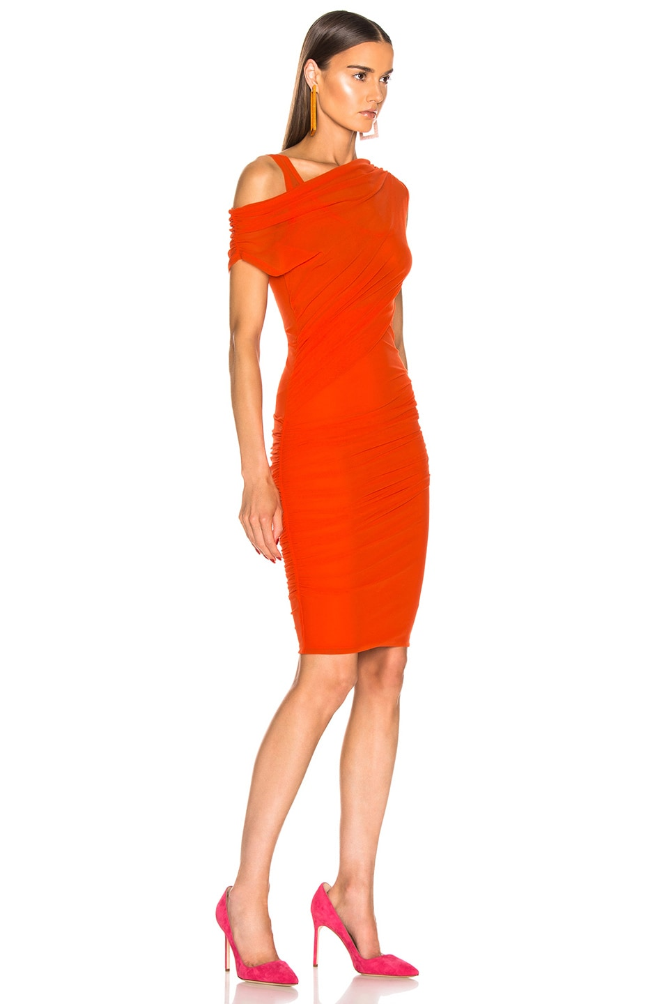 Image 2 of MSGM Ruched Midi Dress in Orange