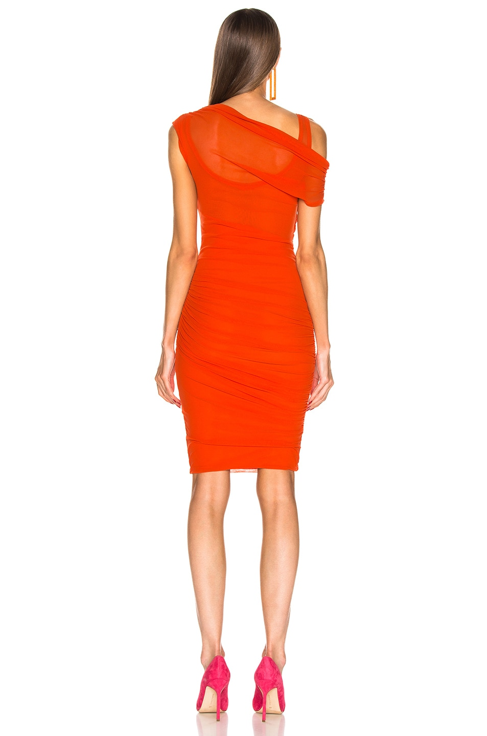Image 3 of MSGM Ruched Midi Dress in Orange