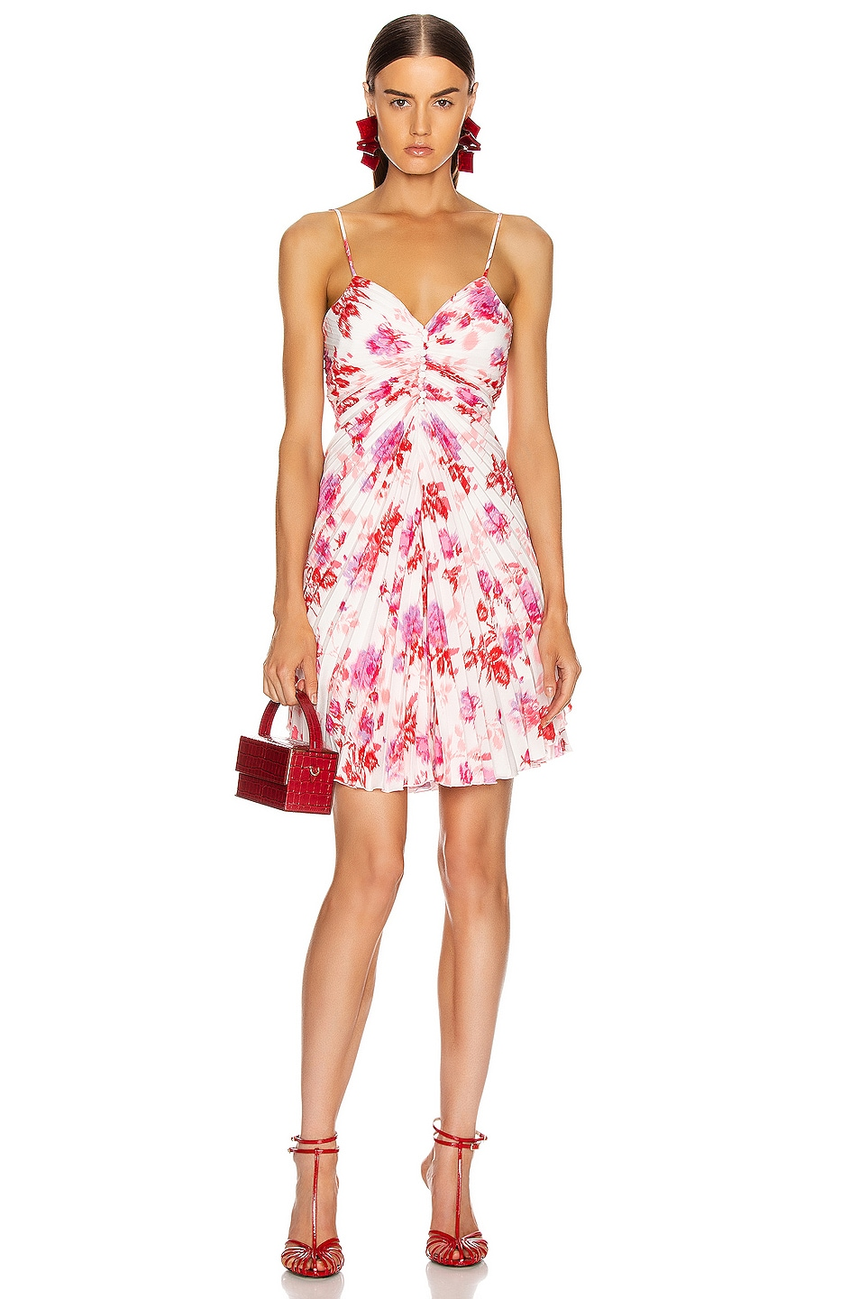 Image 1 of MSGM Pleated Floral Dress in Red, Pink & White