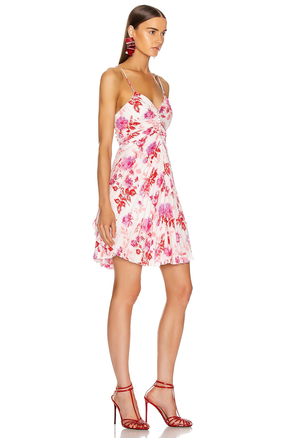 Image 2 of MSGM Pleated Floral Dress in Red, Pink & White