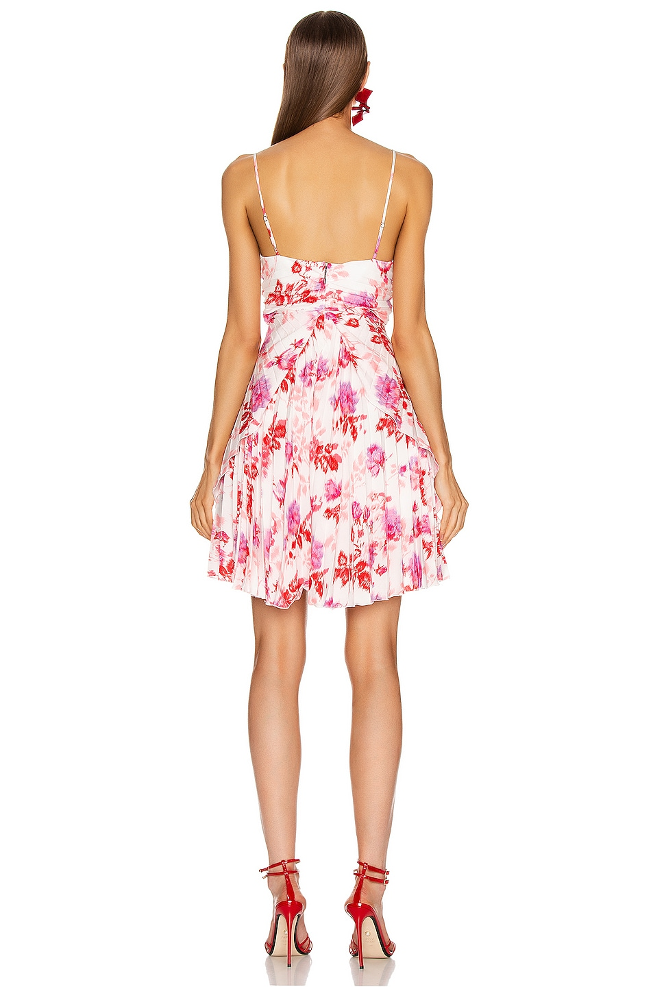 Image 3 of MSGM Pleated Floral Dress in Red, Pink & White