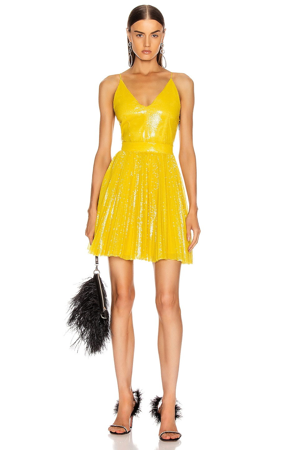 Image 1 of MSGM Sequined Pleated Mini Dress in Yellow