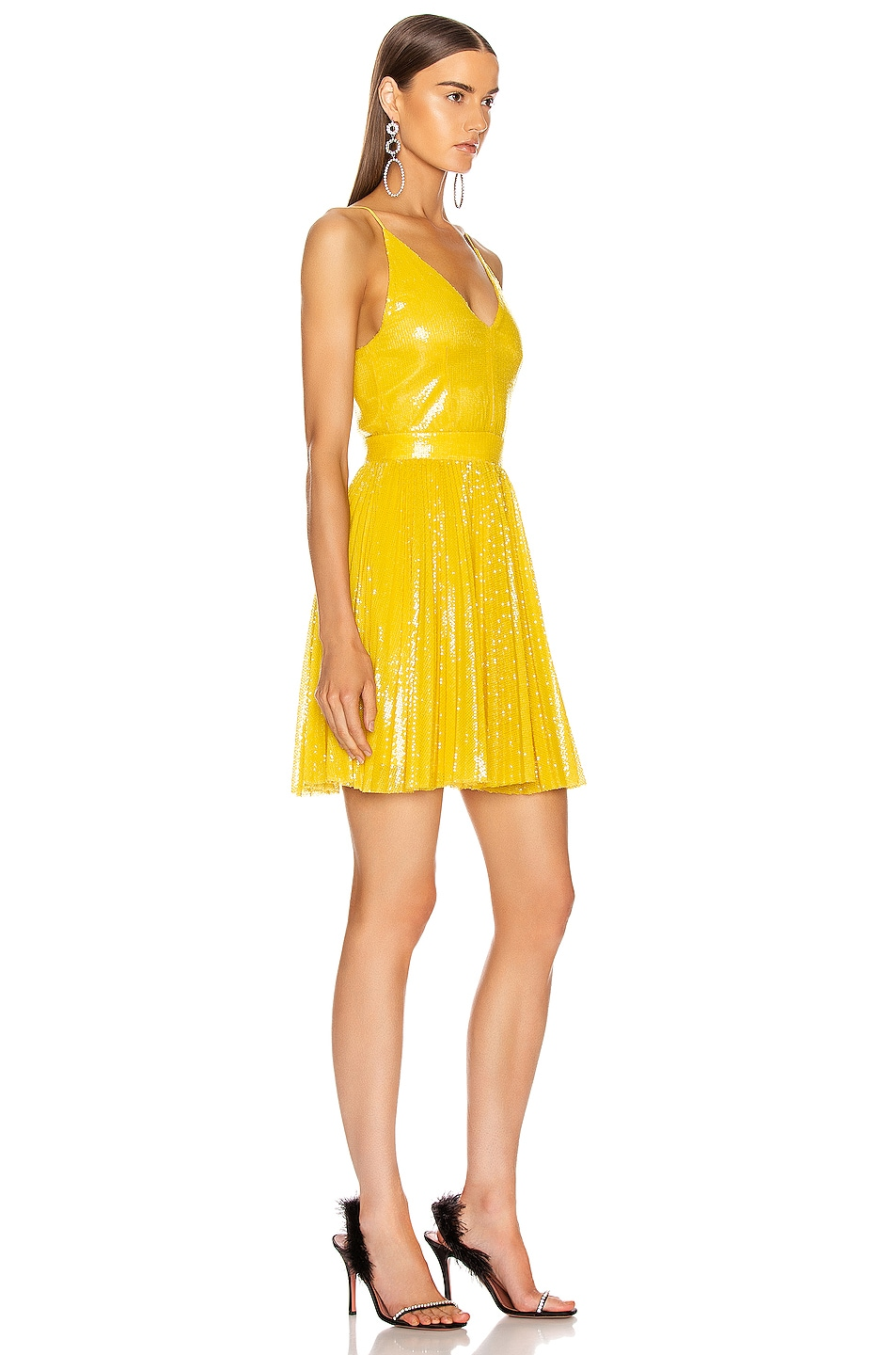 Image 2 of MSGM Sequined Pleated Mini Dress in Yellow