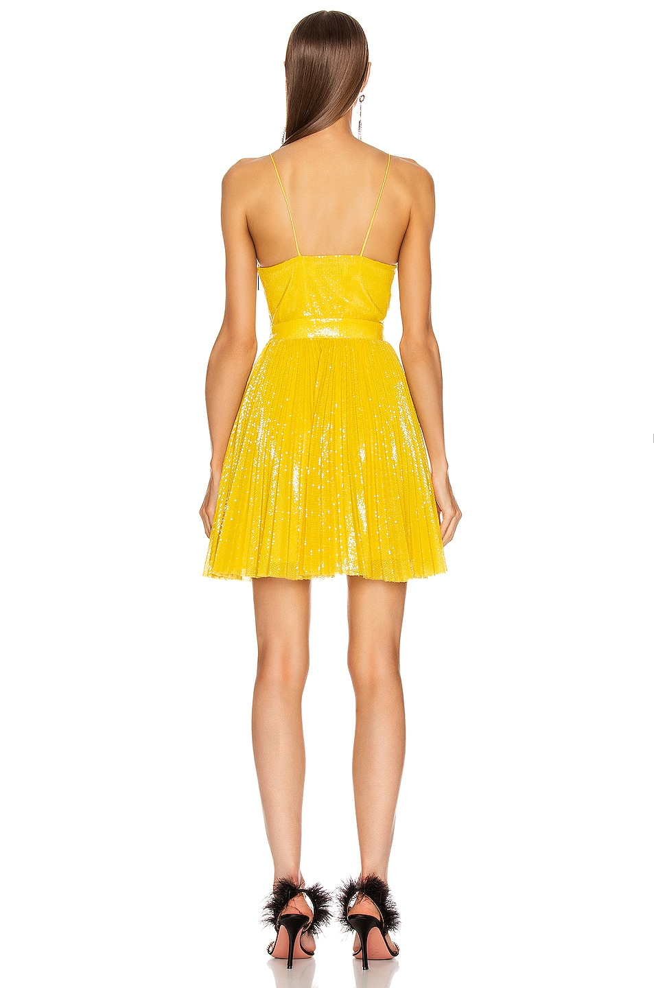 Image 3 of MSGM Sequined Pleated Mini Dress in Yellow