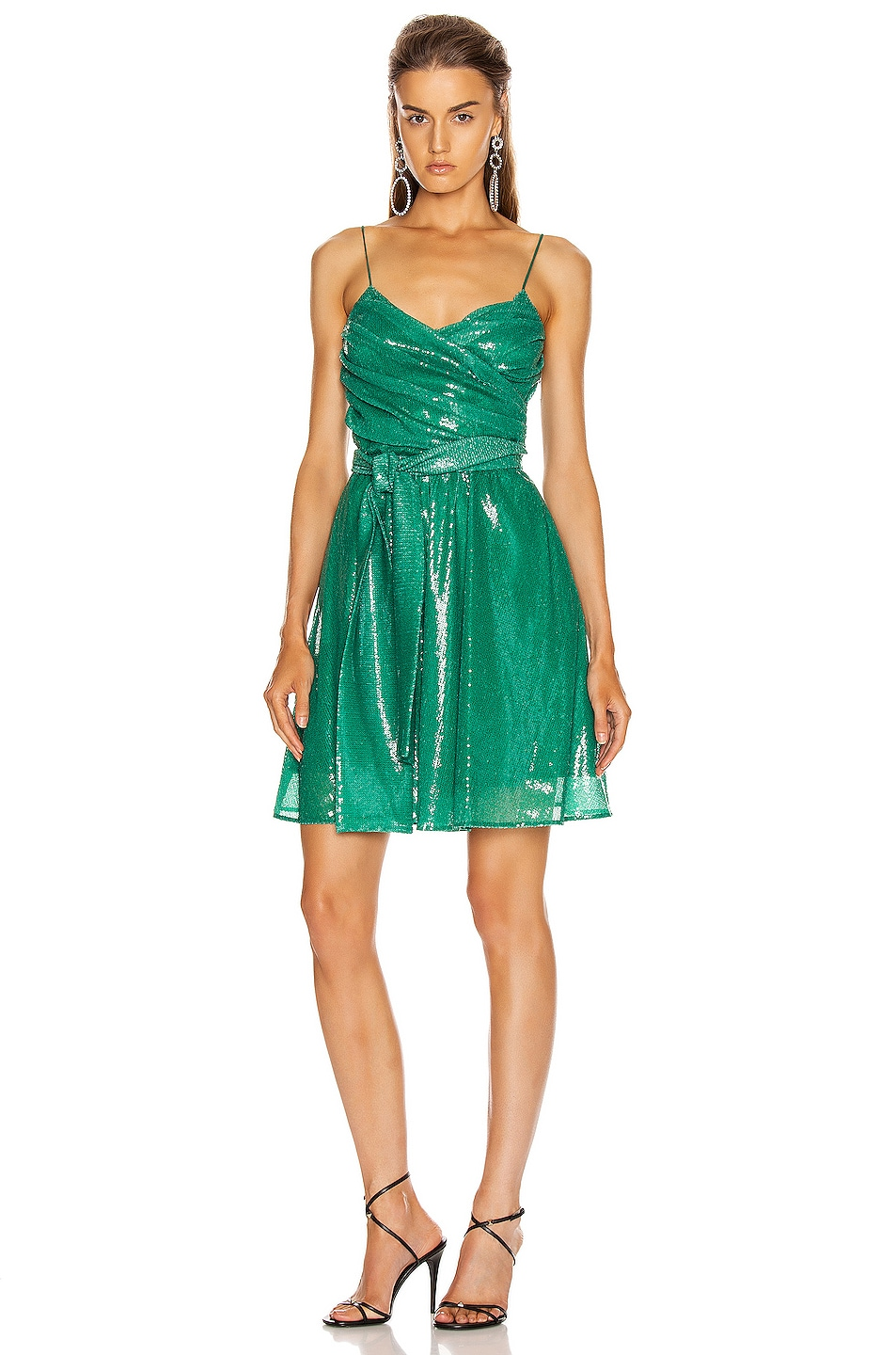 Image 1 of MSGM Sequined Ruched Mini Dress in Green