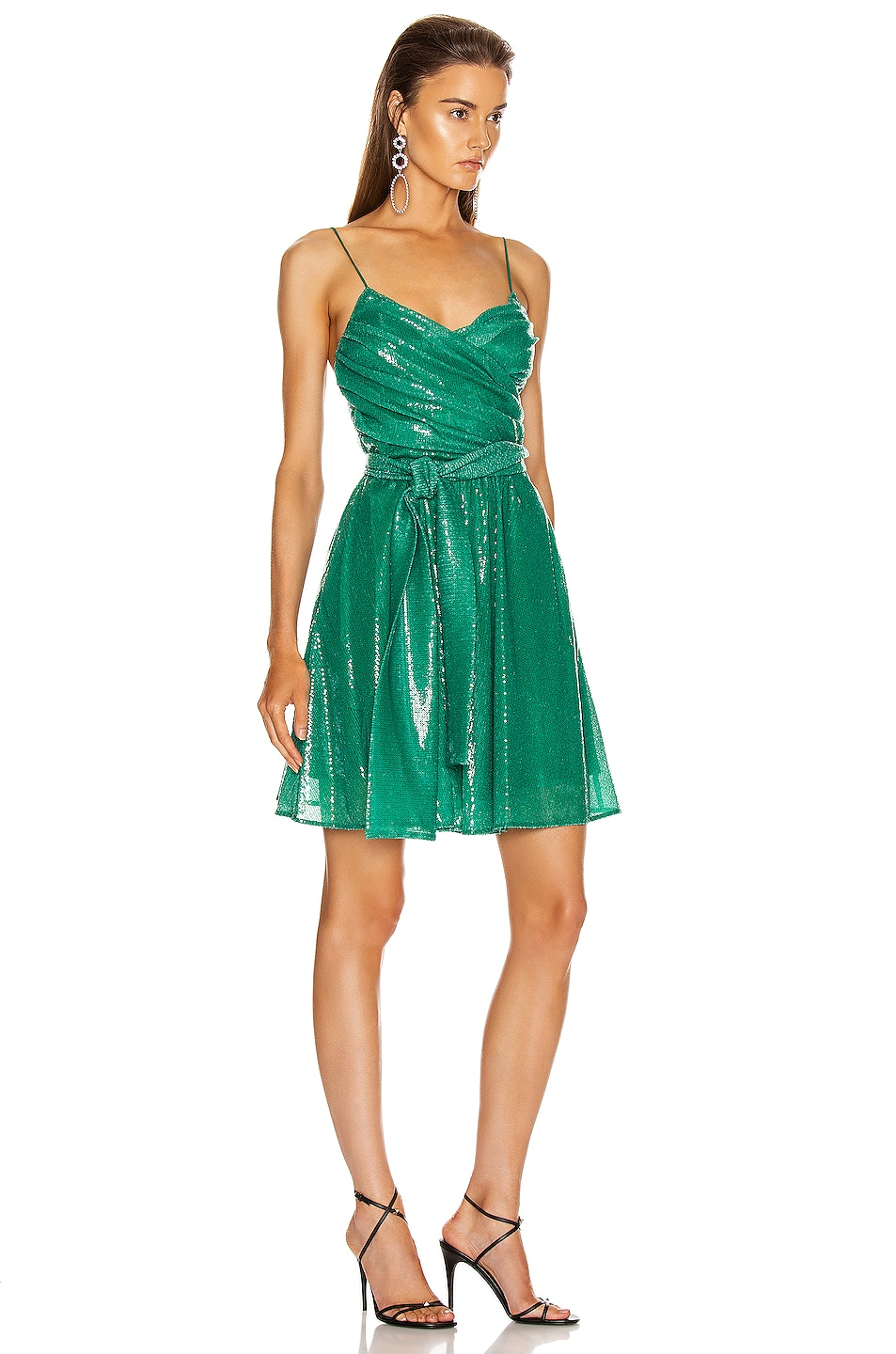 Image 2 of MSGM Sequined Ruched Mini Dress in Green