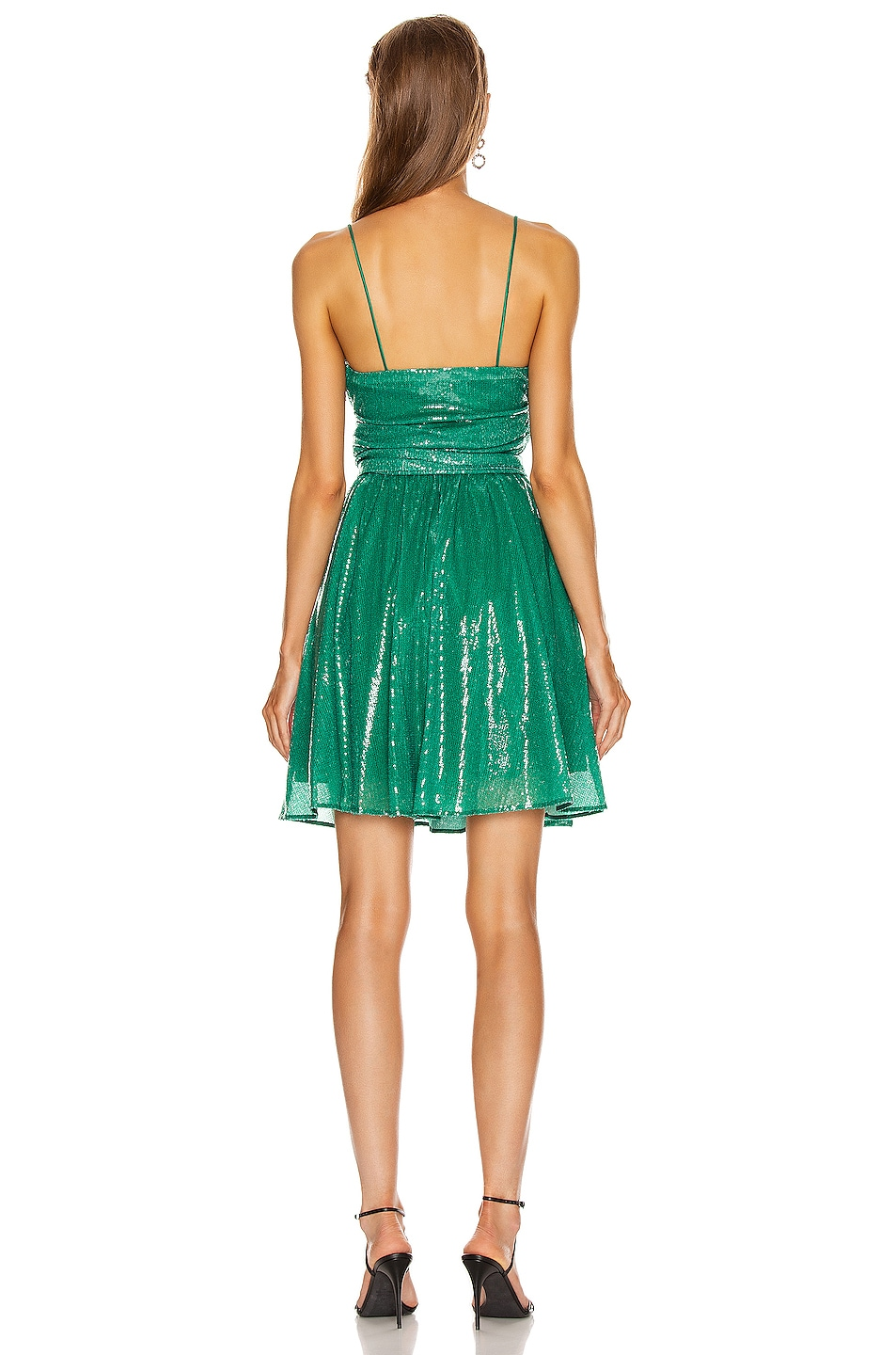 Image 3 of MSGM Sequined Ruched Mini Dress in Green