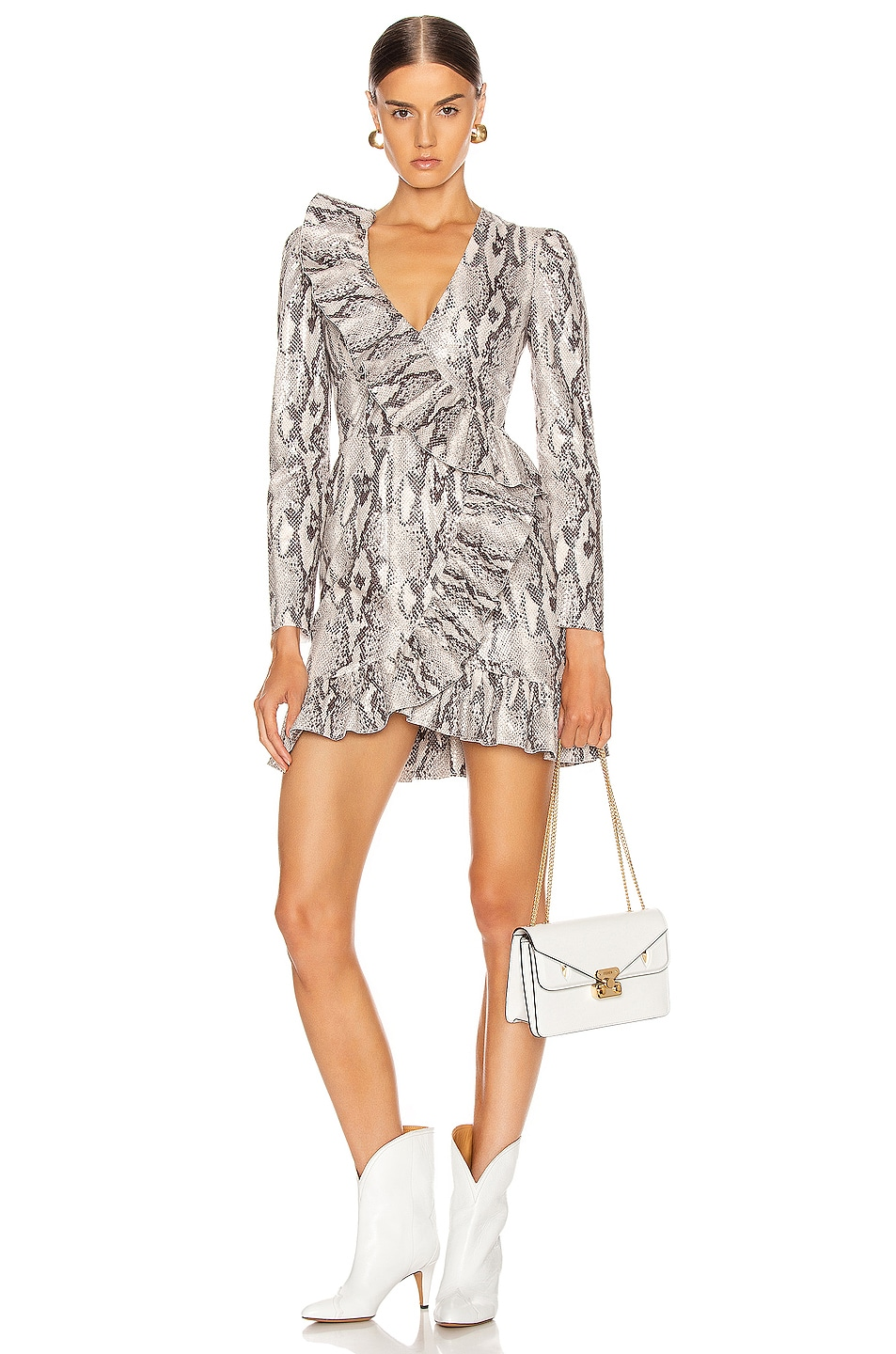 Image 1 of MSGM Ruffle Snake Print Dress in Ice