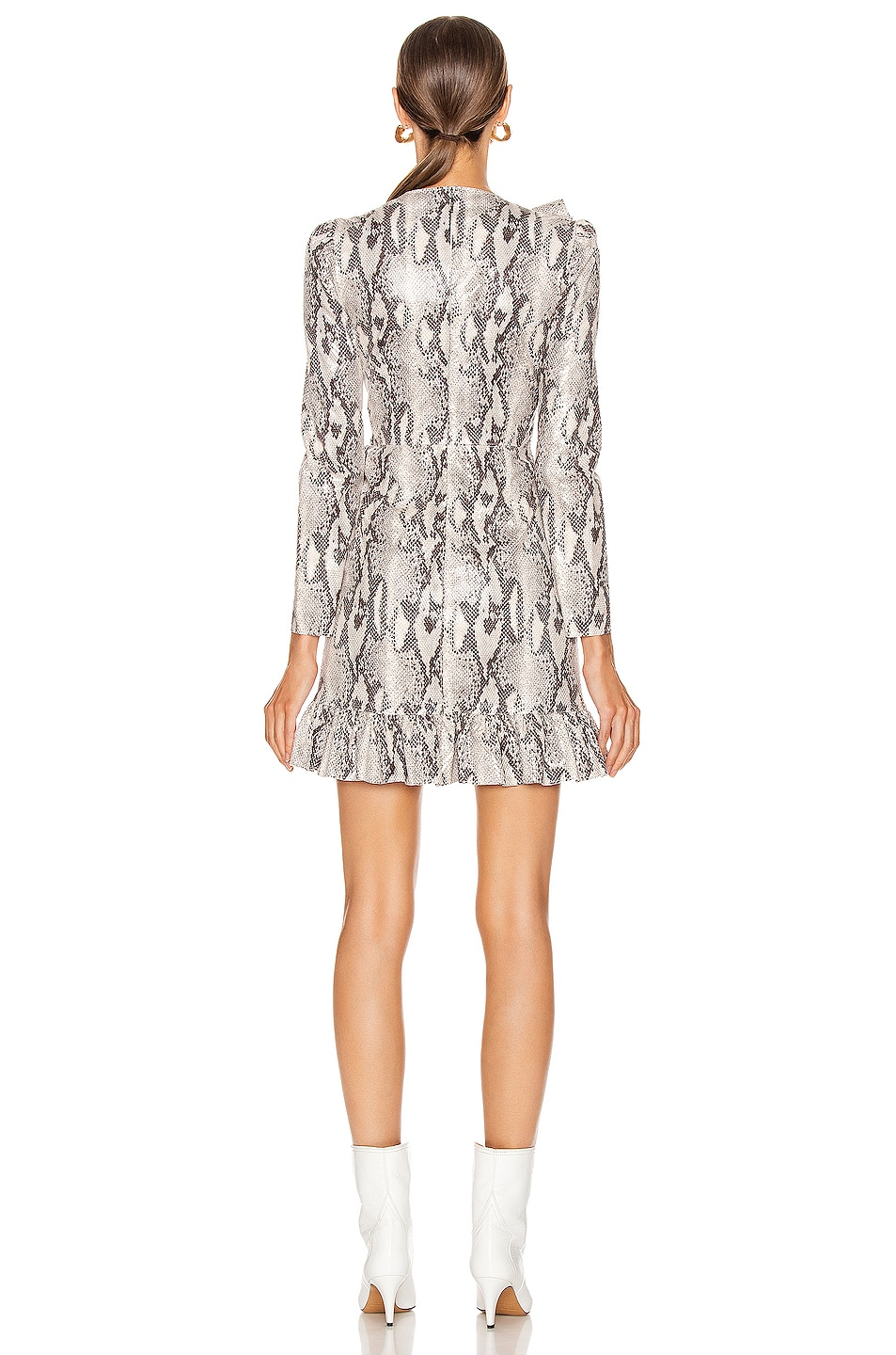 Image 4 of MSGM Ruffle Snake Print Dress in Ice