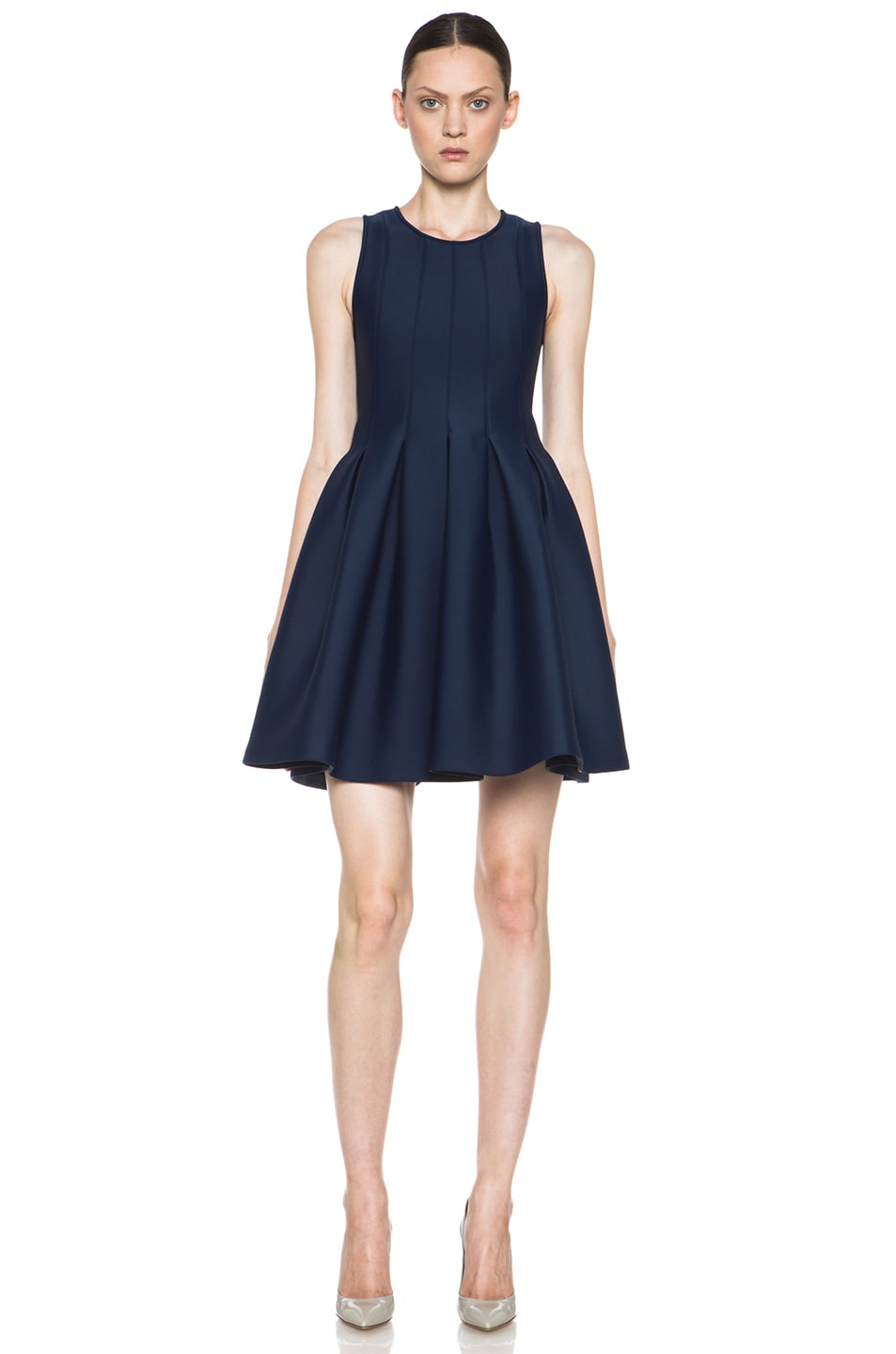 Image 1 of MSGM Neoprene Fit and Flare Dress in Blue
