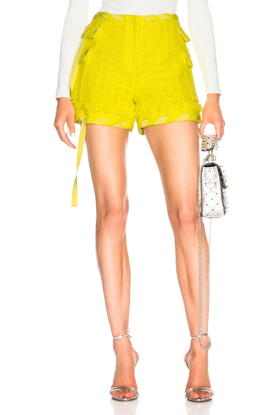 Image 1 of MSGM Tweed Short in Yellow