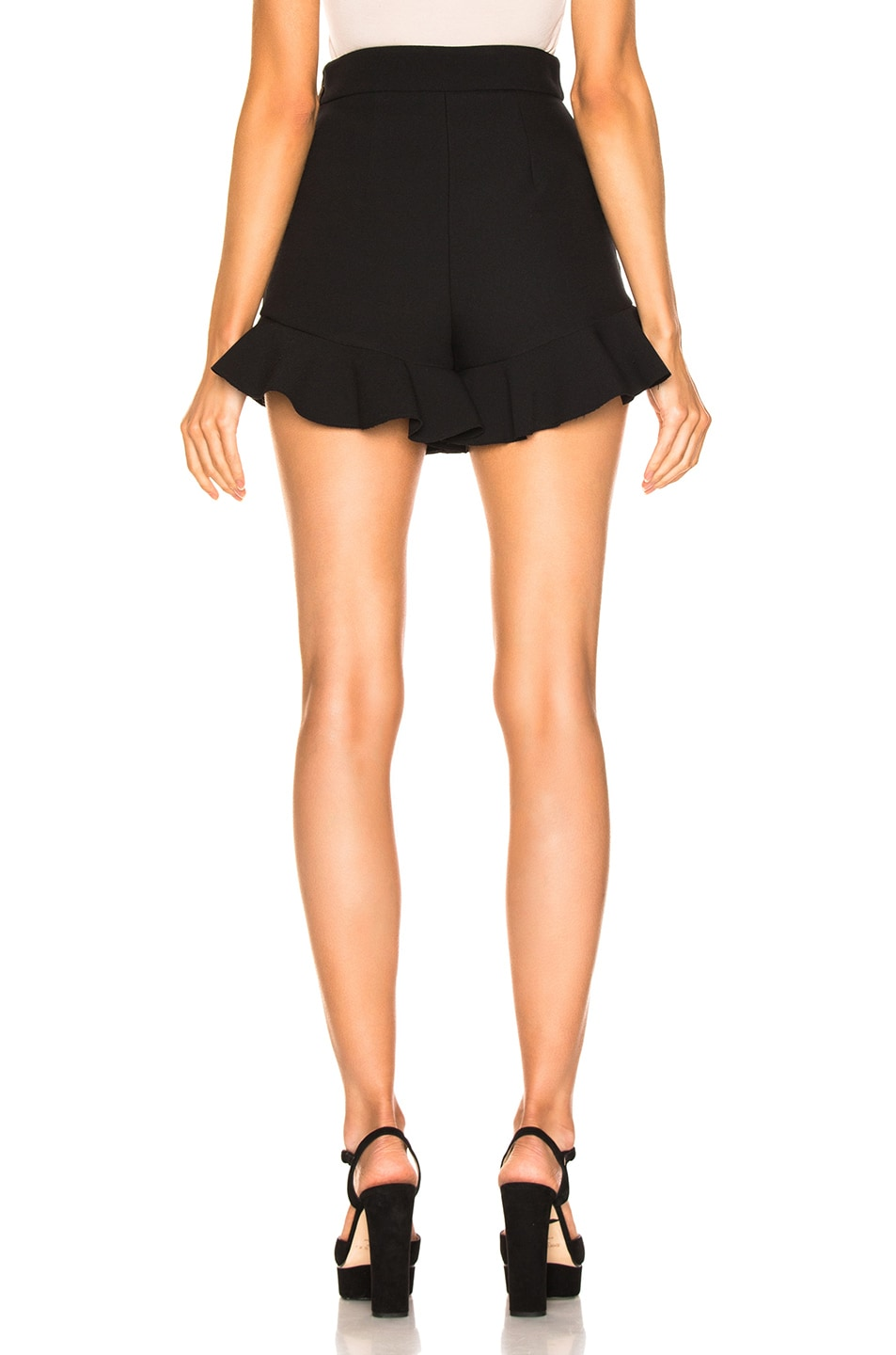 Image 3 of MSGM Crepe Ruffle Shorts in Black