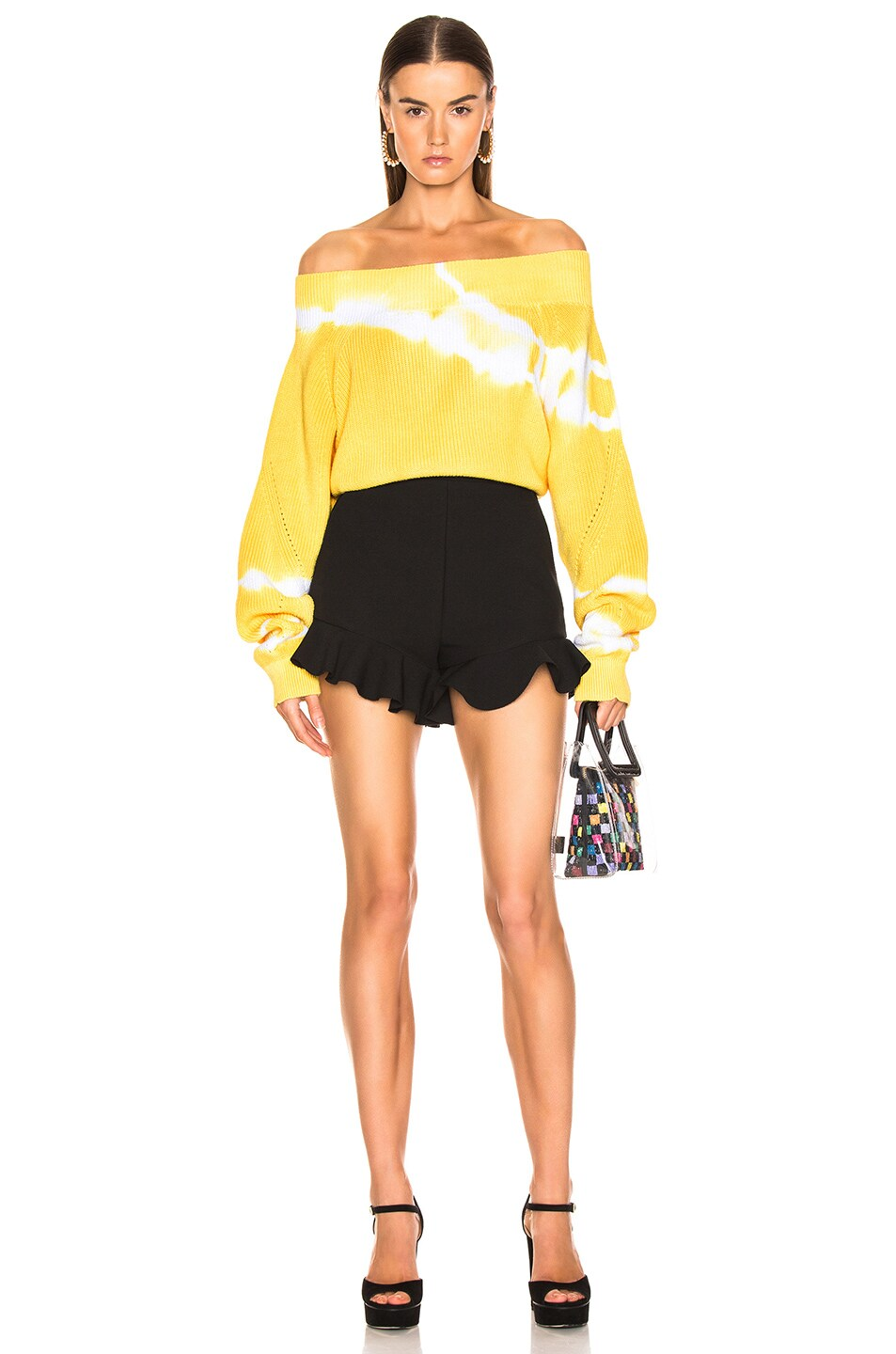 Image 4 of MSGM Crepe Ruffle Shorts in Black