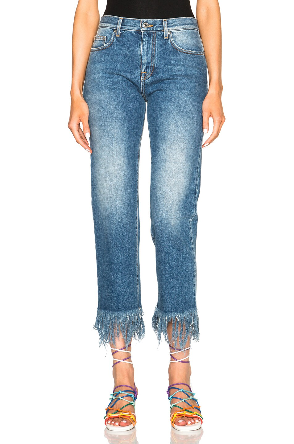 Image 1 of MSGM Frayed Jeans in Blue