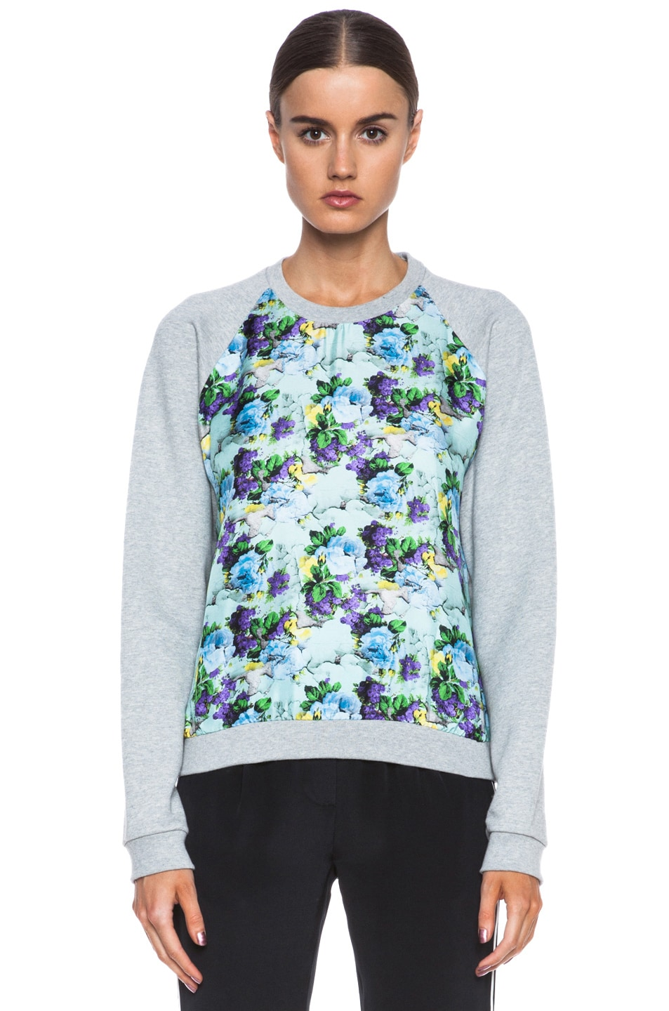 Image 1 of MSGM Sweatshirt with Floral Silk Front in Grey