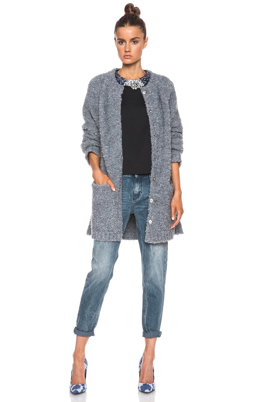 Image 1 of MSGM Shearling Cardigan in Grey