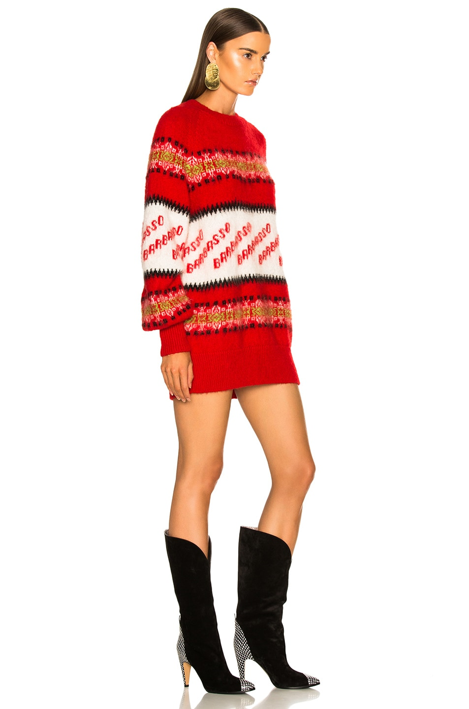 Image 3 of MSGM Crew Neck Sweater in Red Multi