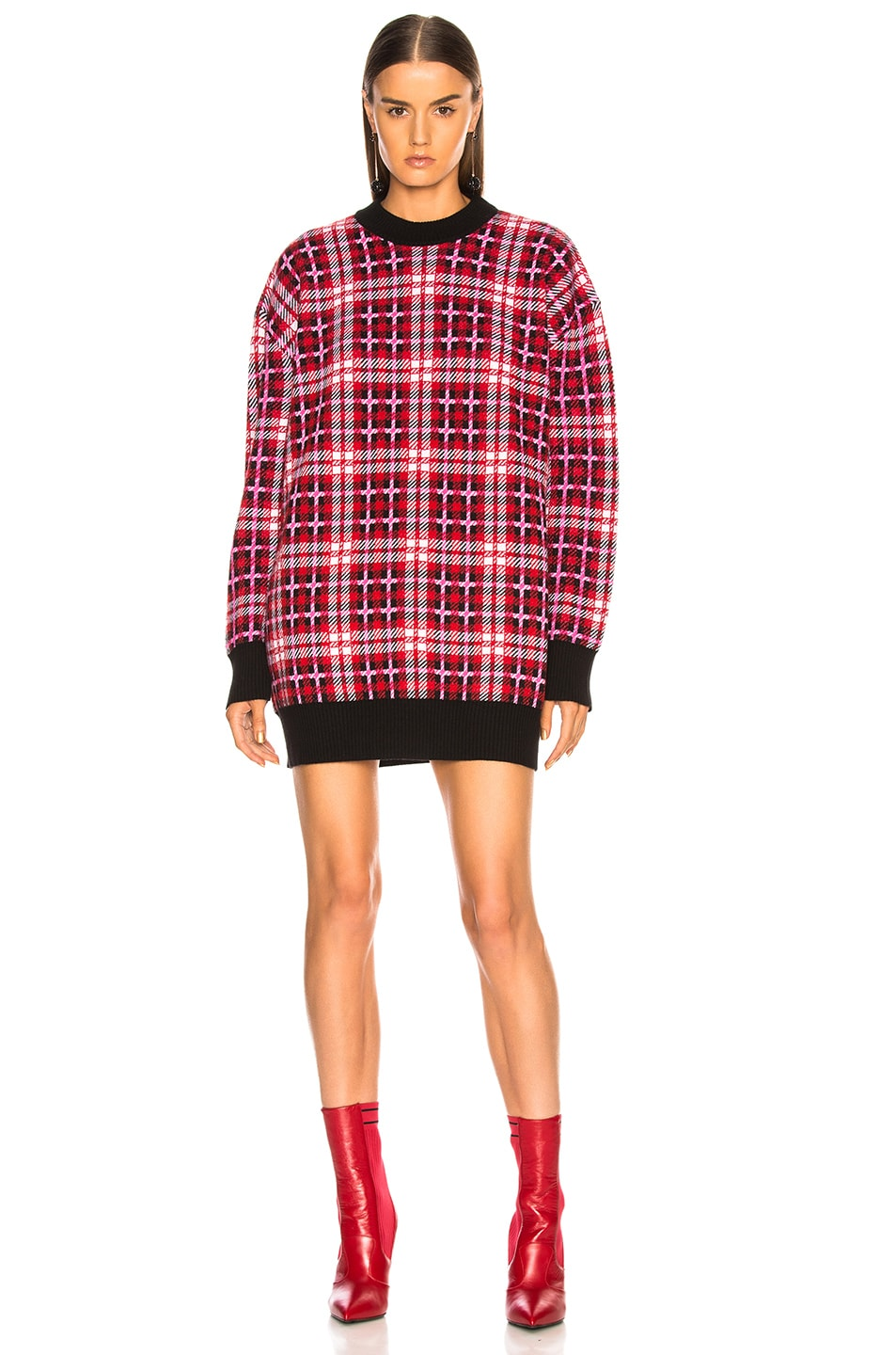 Image 1 of MSGM Checked Oversized Sweater in Multicolor