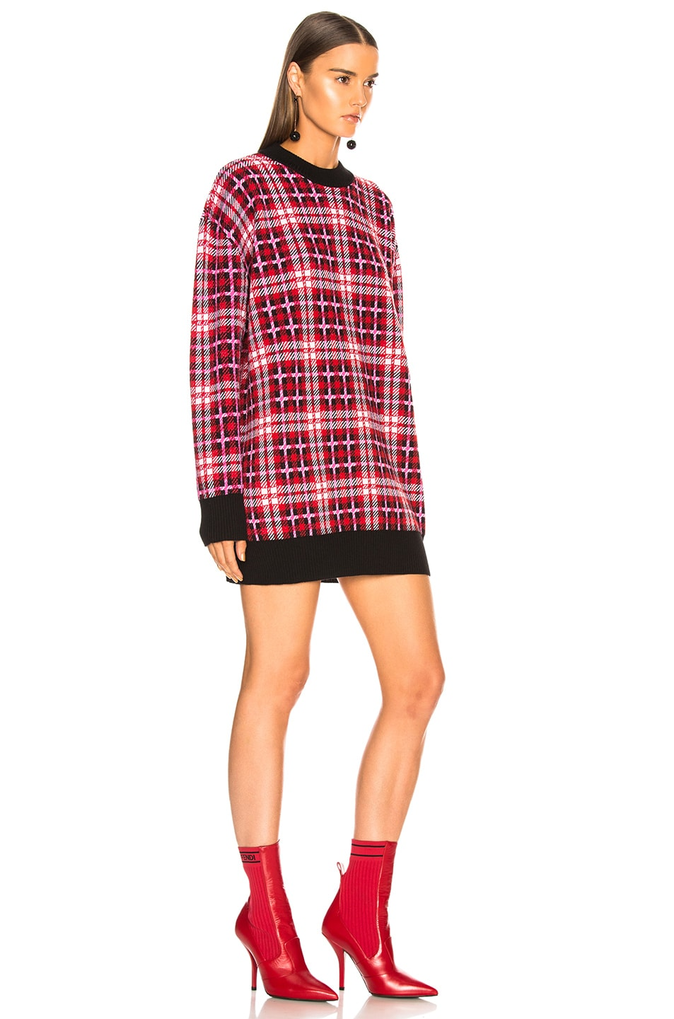 Image 2 of MSGM Checked Oversized Sweater in Multicolor